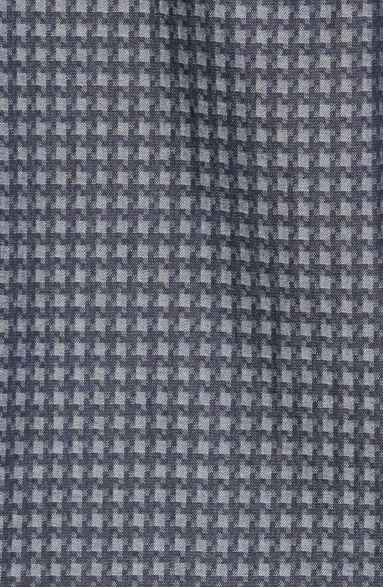 Shaped Fit Houndstooth Print Sport Shirt,                             Alternate thumbnail 5, color,                             Navy