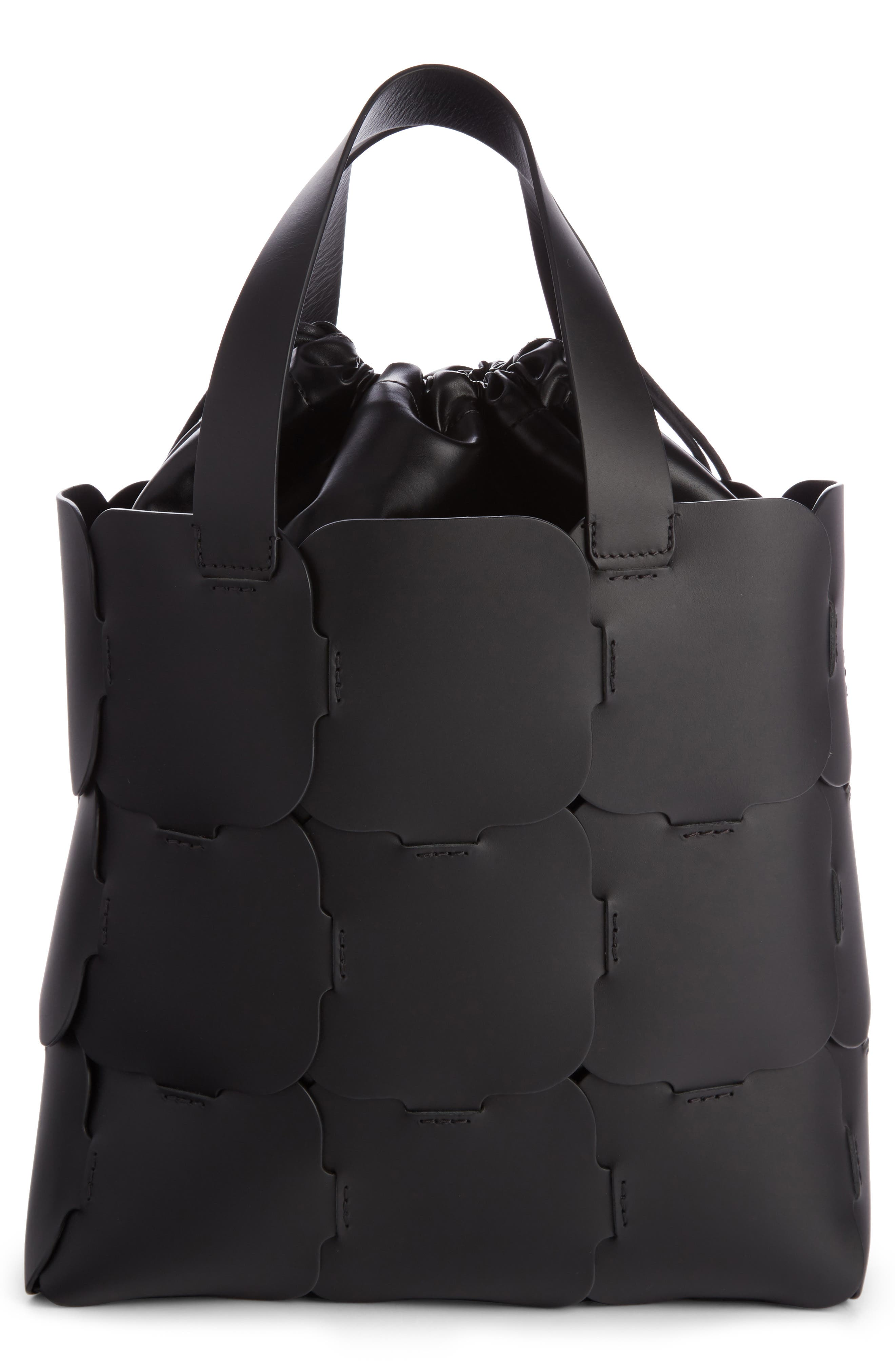 Medium Element Cabas Leather Bucket Bag,                             Alternate thumbnail 2, color,                             Black