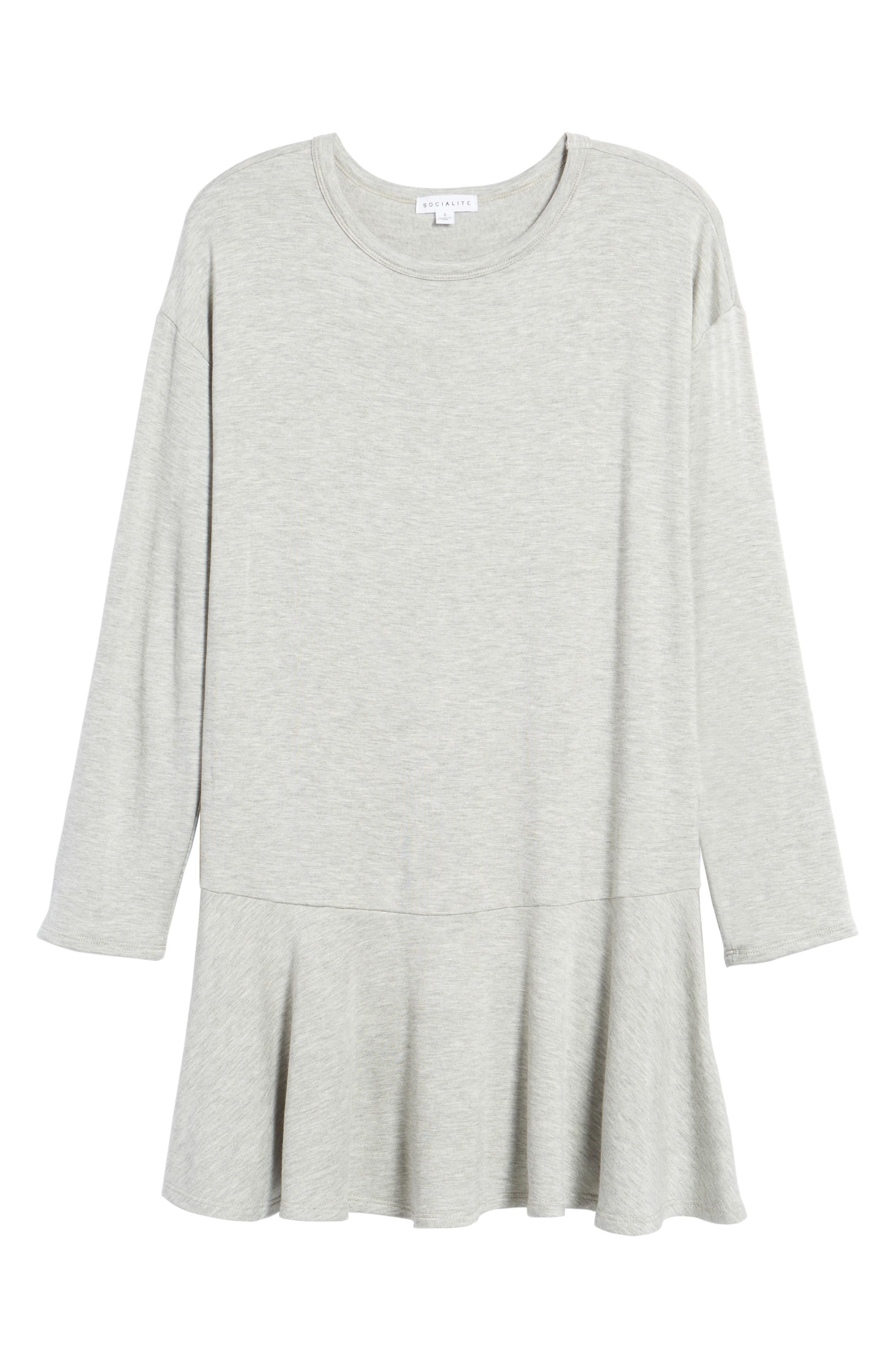 Drop Waist Sweatshirt Dress,                             Alternate thumbnail 6, color,                             Heather Grey