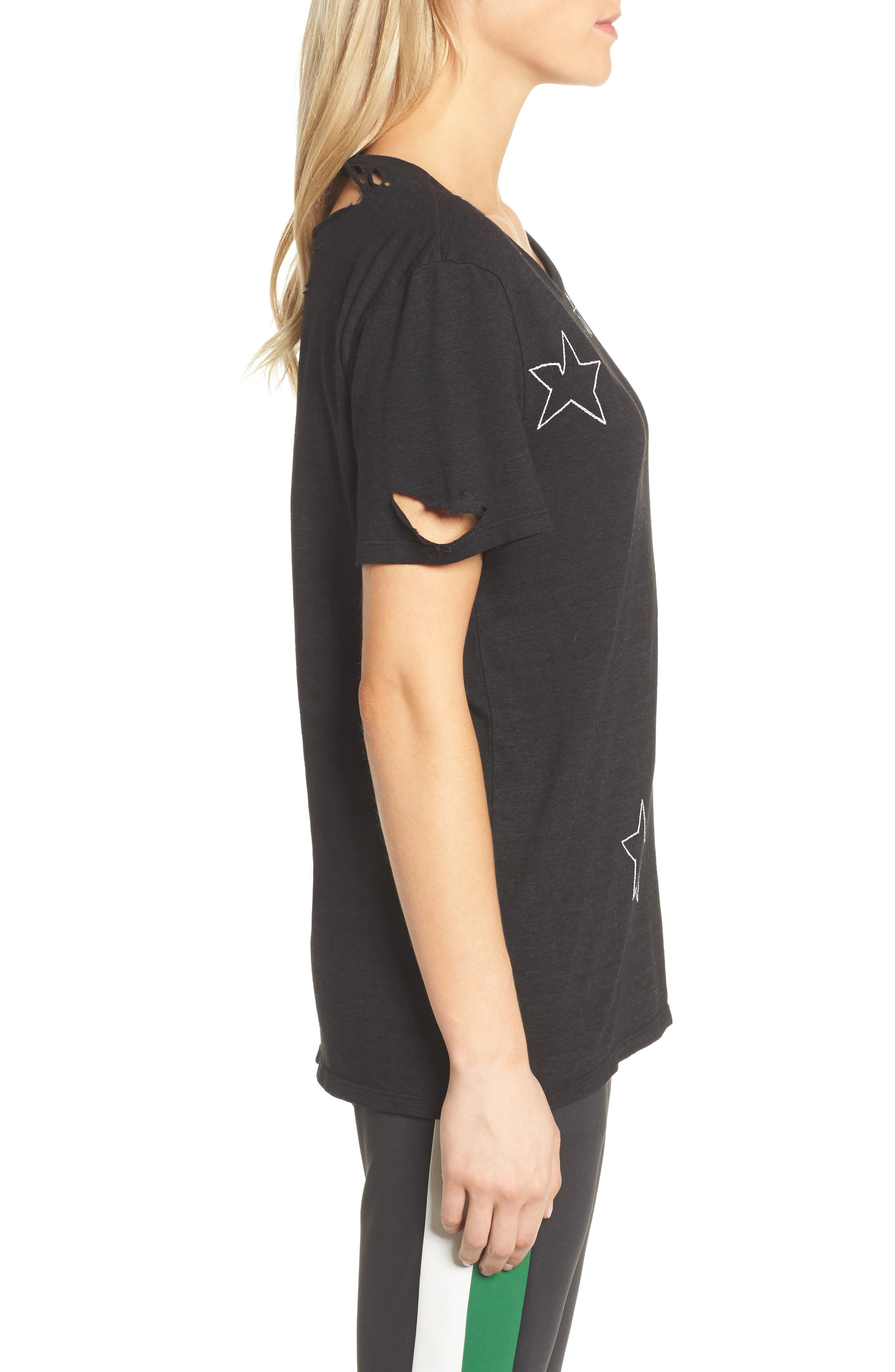 Destroyed Star Embroidered Tee,                             Alternate thumbnail 3, color,                             Black