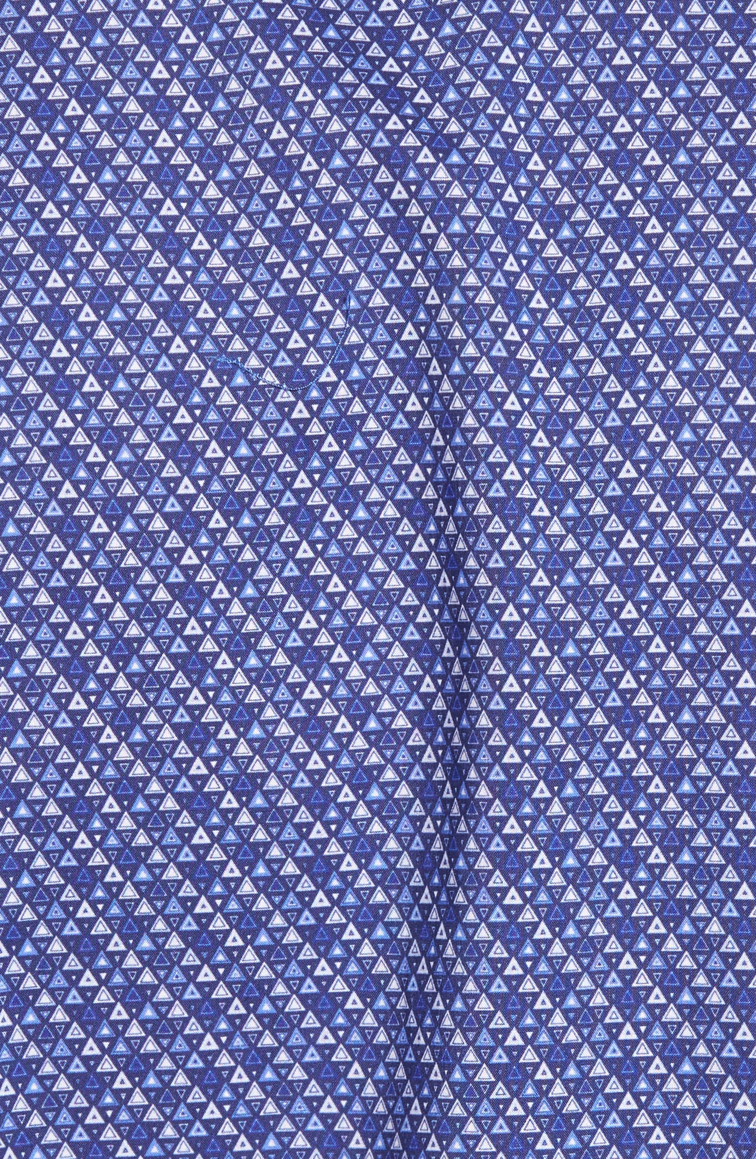 Shaped Fit Print Sport Shirt,                             Alternate thumbnail 5, color,                             Navy
