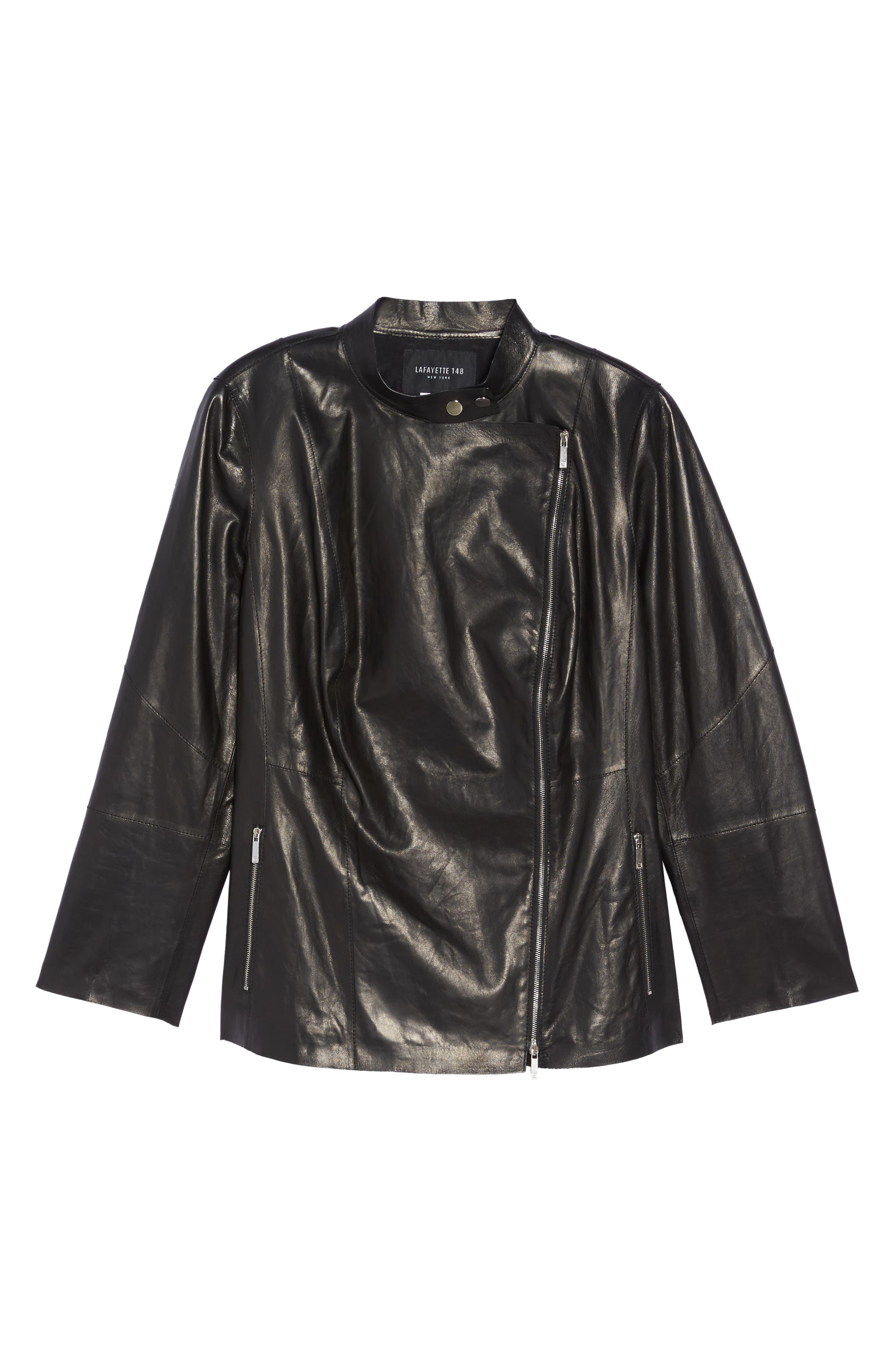 Presley Moto Leather Jacket,                             Alternate thumbnail 6, color,                             Black