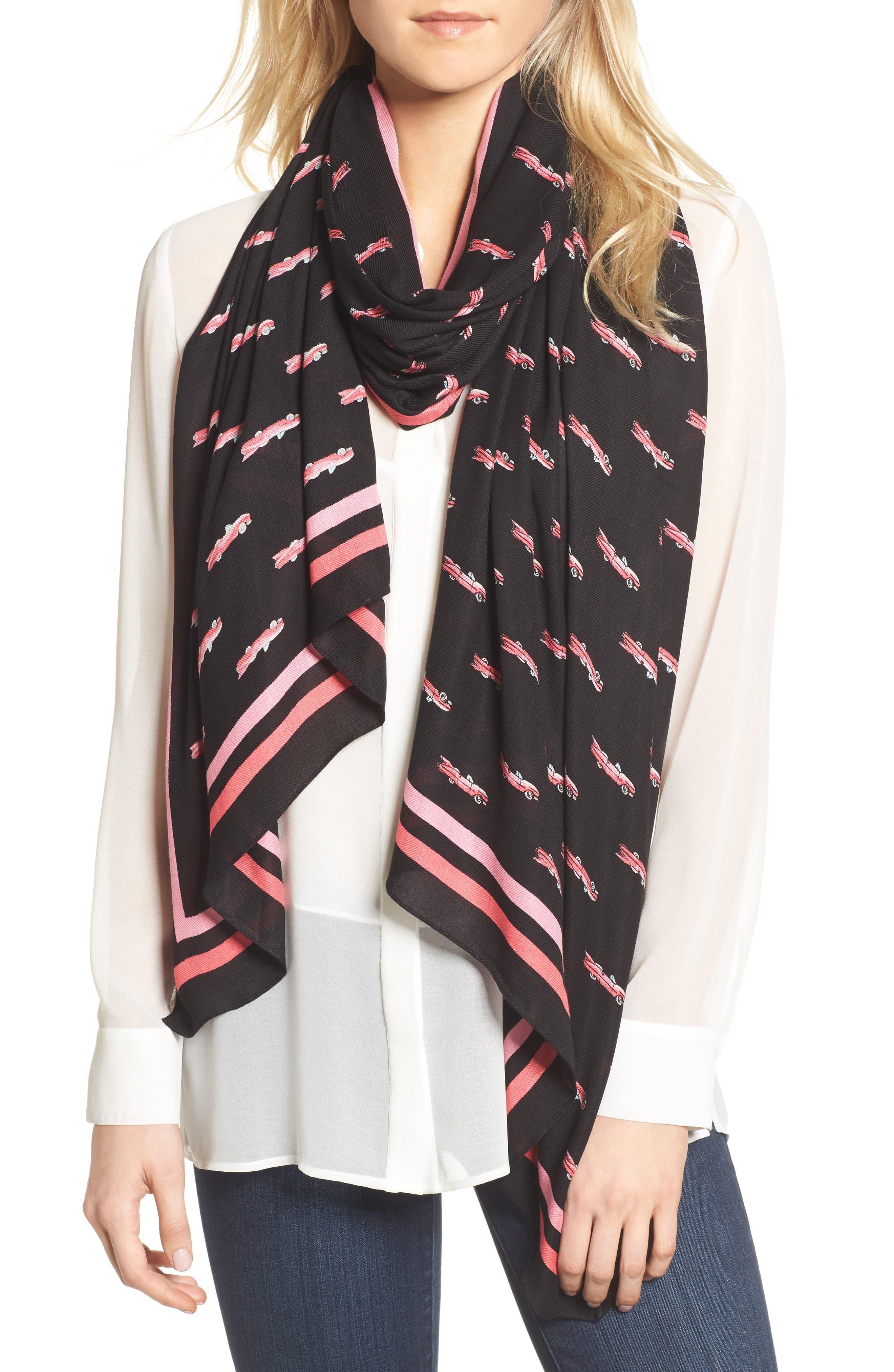 hot rod oblong scarf,                             Main thumbnail 1, color,                             Black