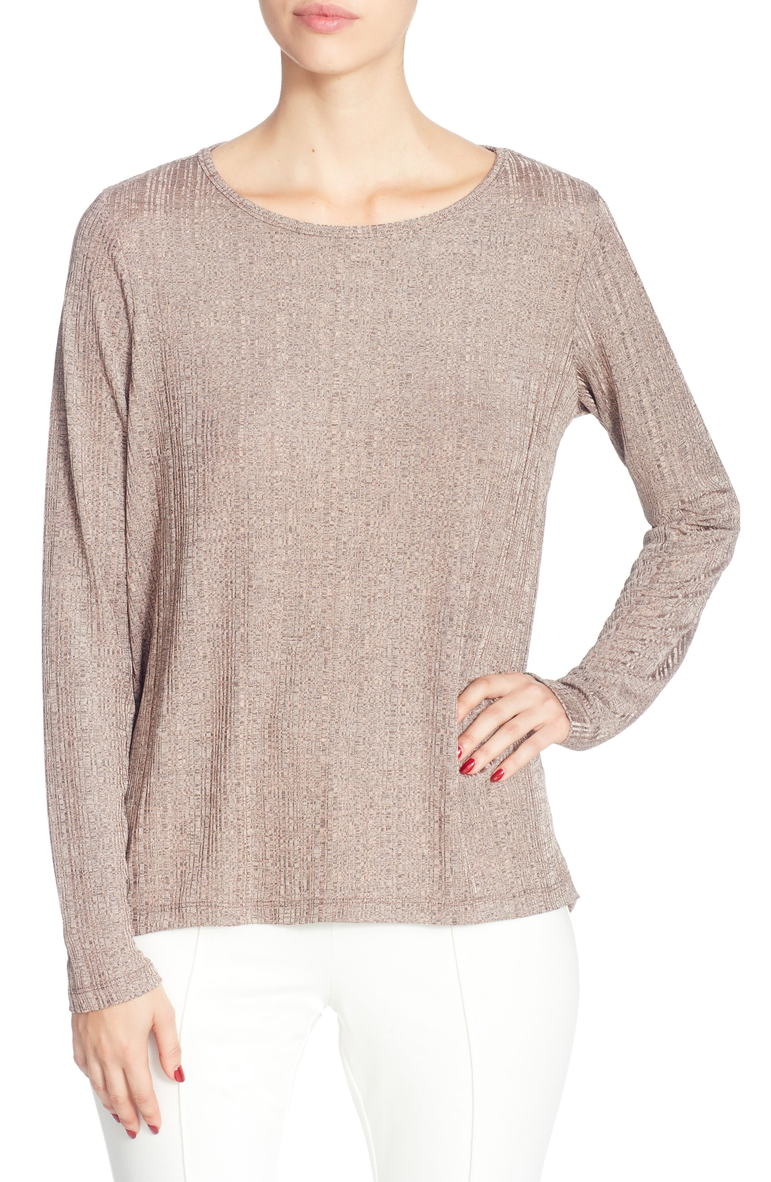 Remi Metallic Knit Top,                         Main,                         color, Neutral Pink