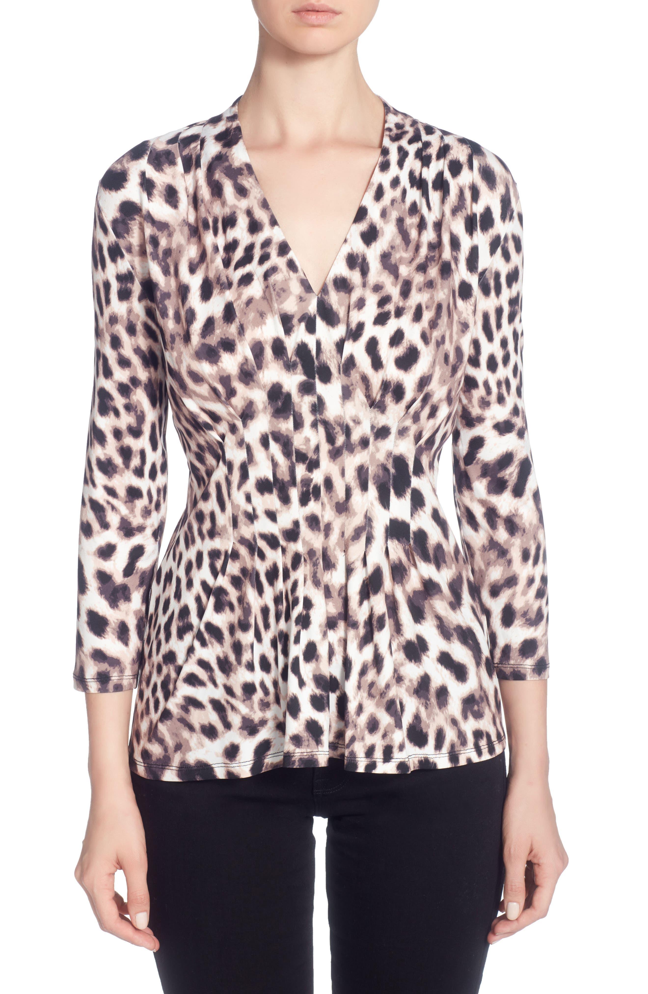 Rea Print Pleat V-Neck Top,                         Main,                         color, Snow Leopard