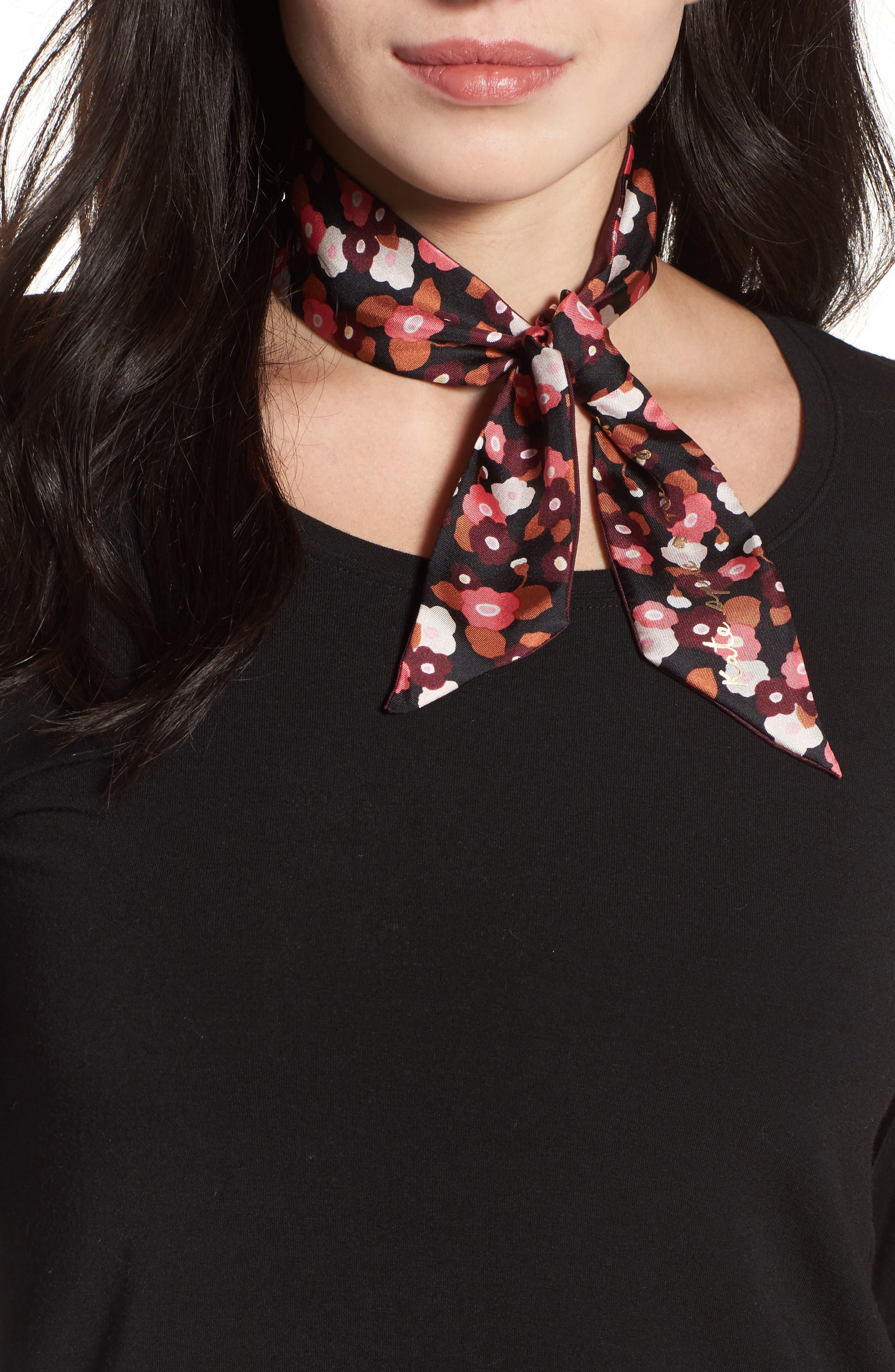 kate spade new york blooming silk skinny scarf
