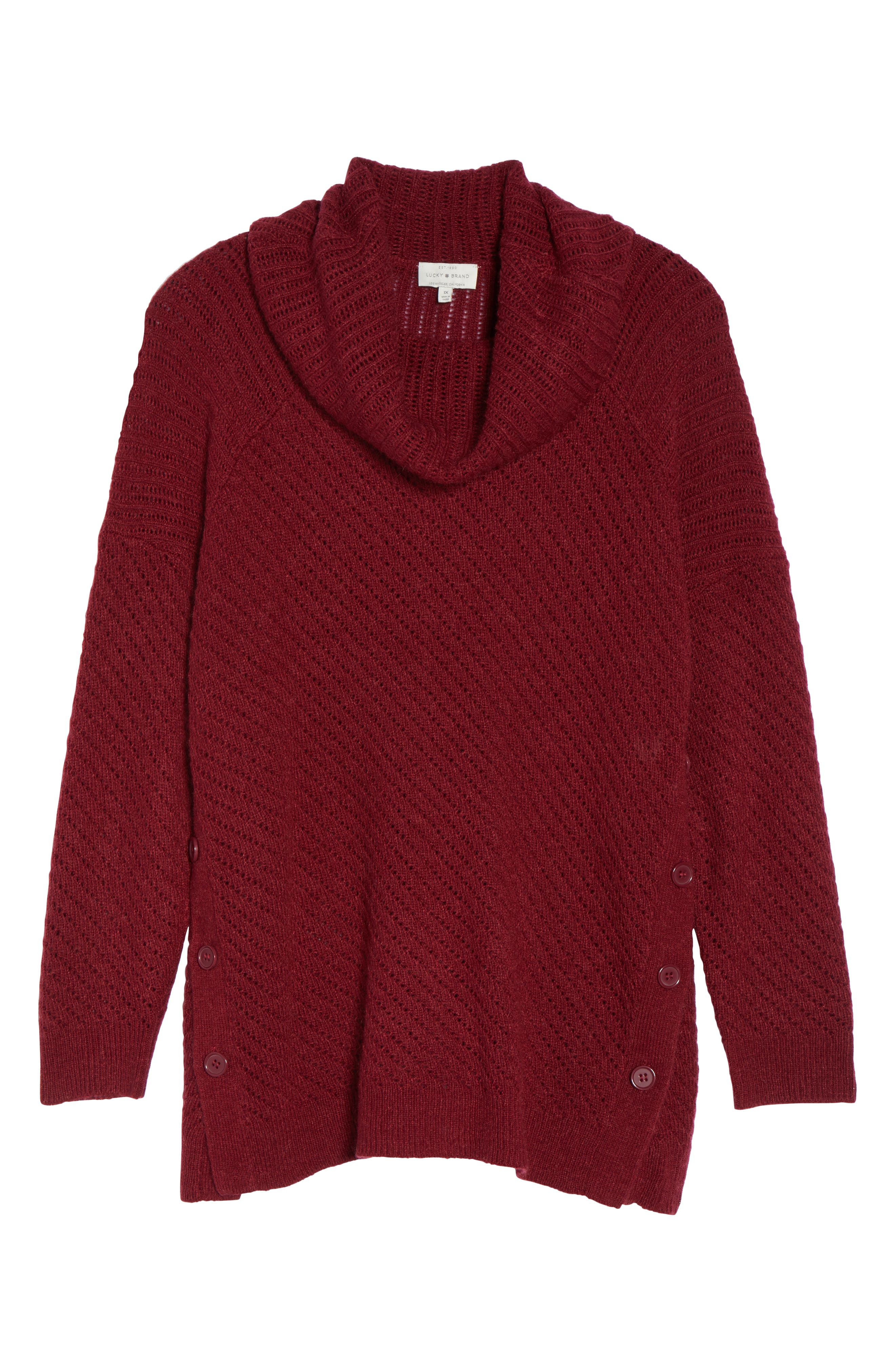 Button Side Sweater,                             Alternate thumbnail 6, color,                             Rust