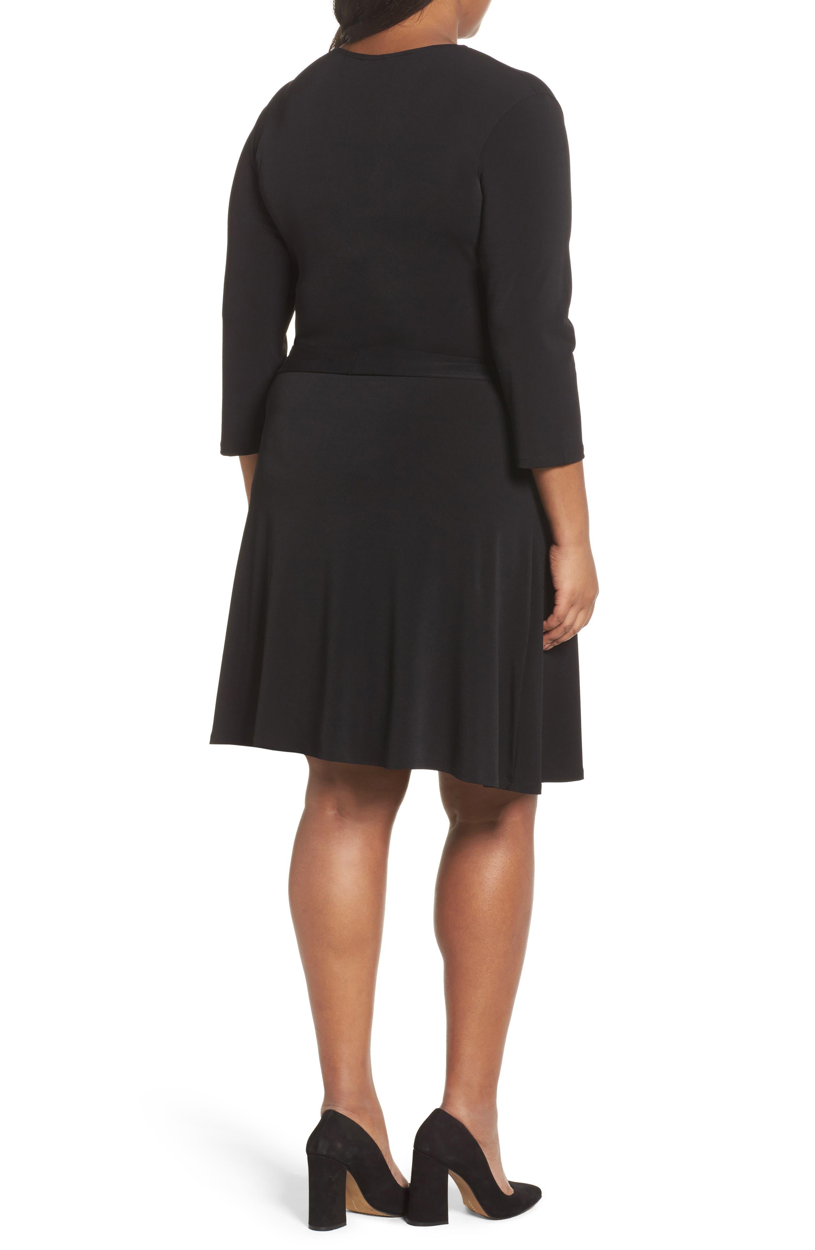 Wrap Dress,                             Alternate thumbnail 2, color,                             Black Crepe