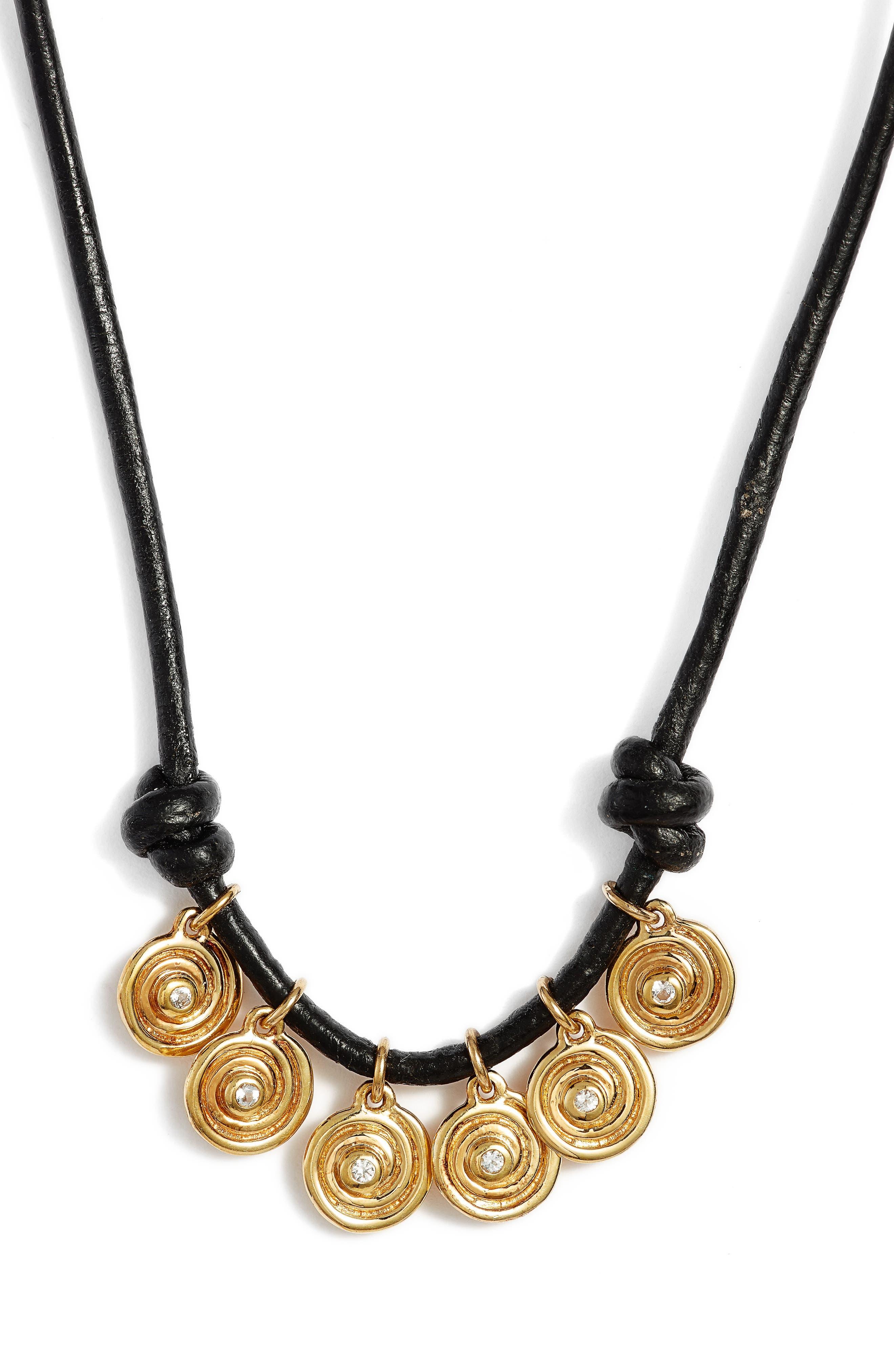 Maeve Pendant Necklace,                             Alternate thumbnail 2, color,                             Yellow Gold/ Black