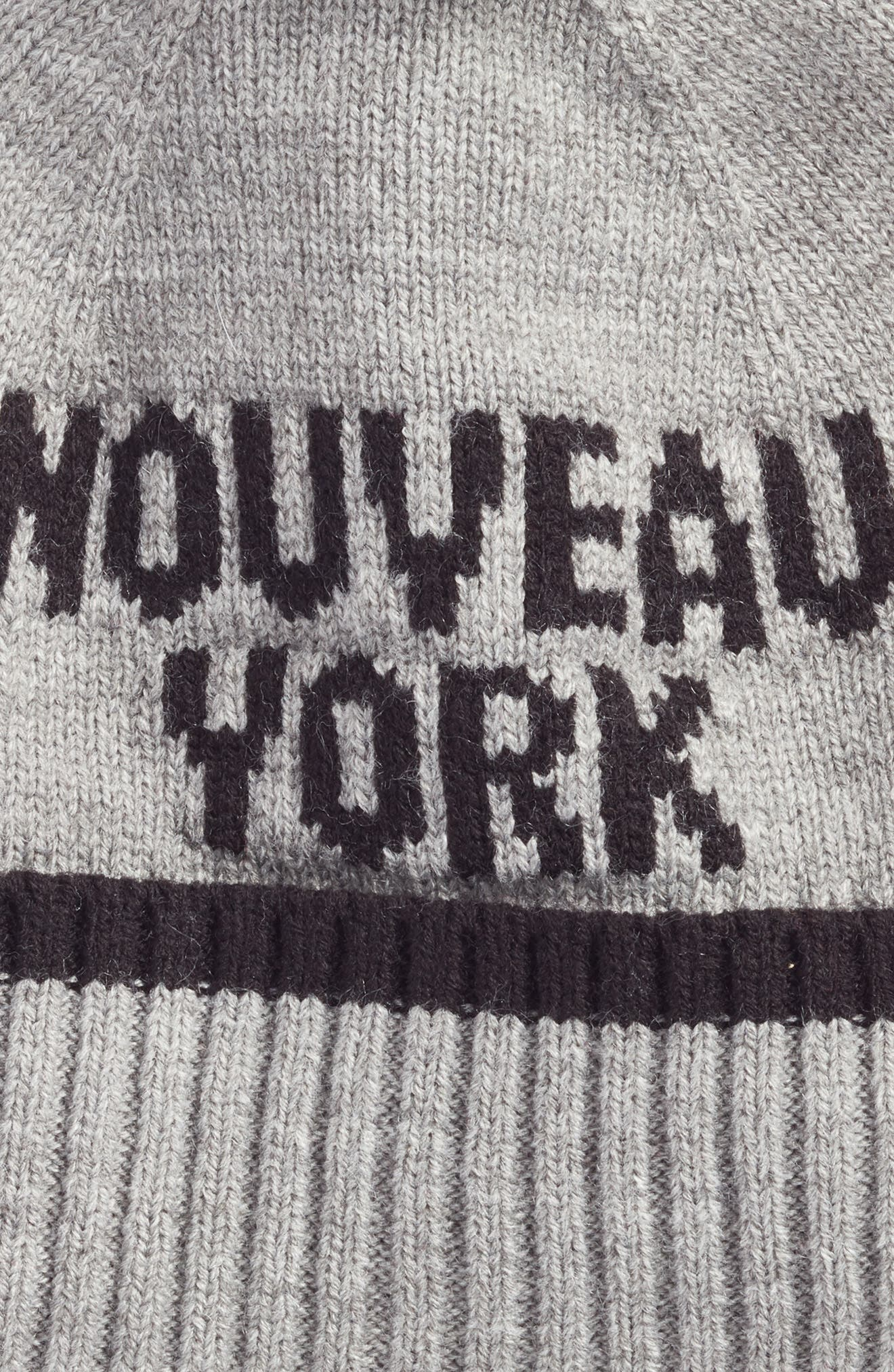 nouveau york pom beanie,                             Alternate thumbnail 2, color,                             Heather Gray/ Black