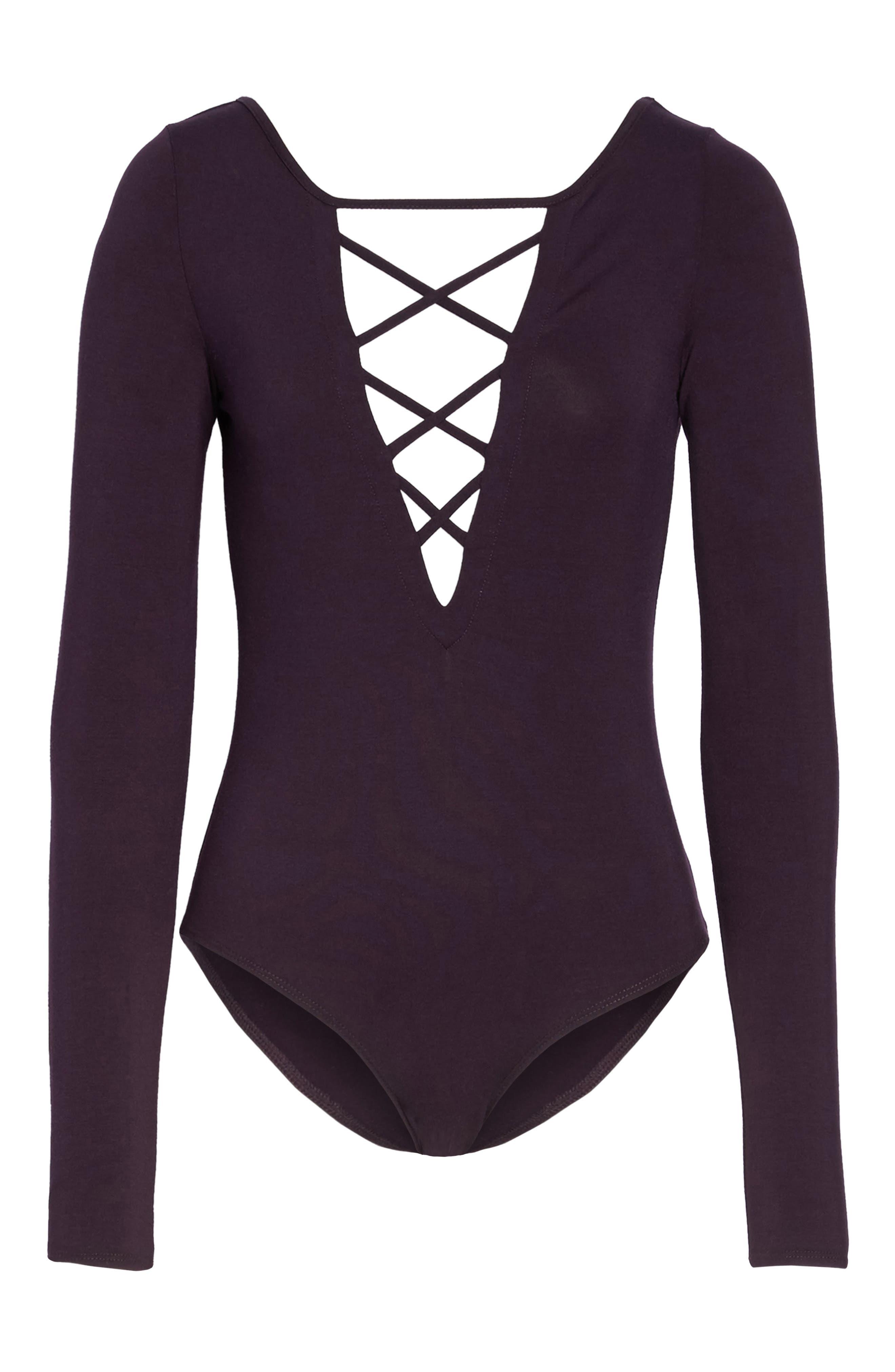 Crisscross Bodysuit,                             Alternate thumbnail 4, color,                             Raisin