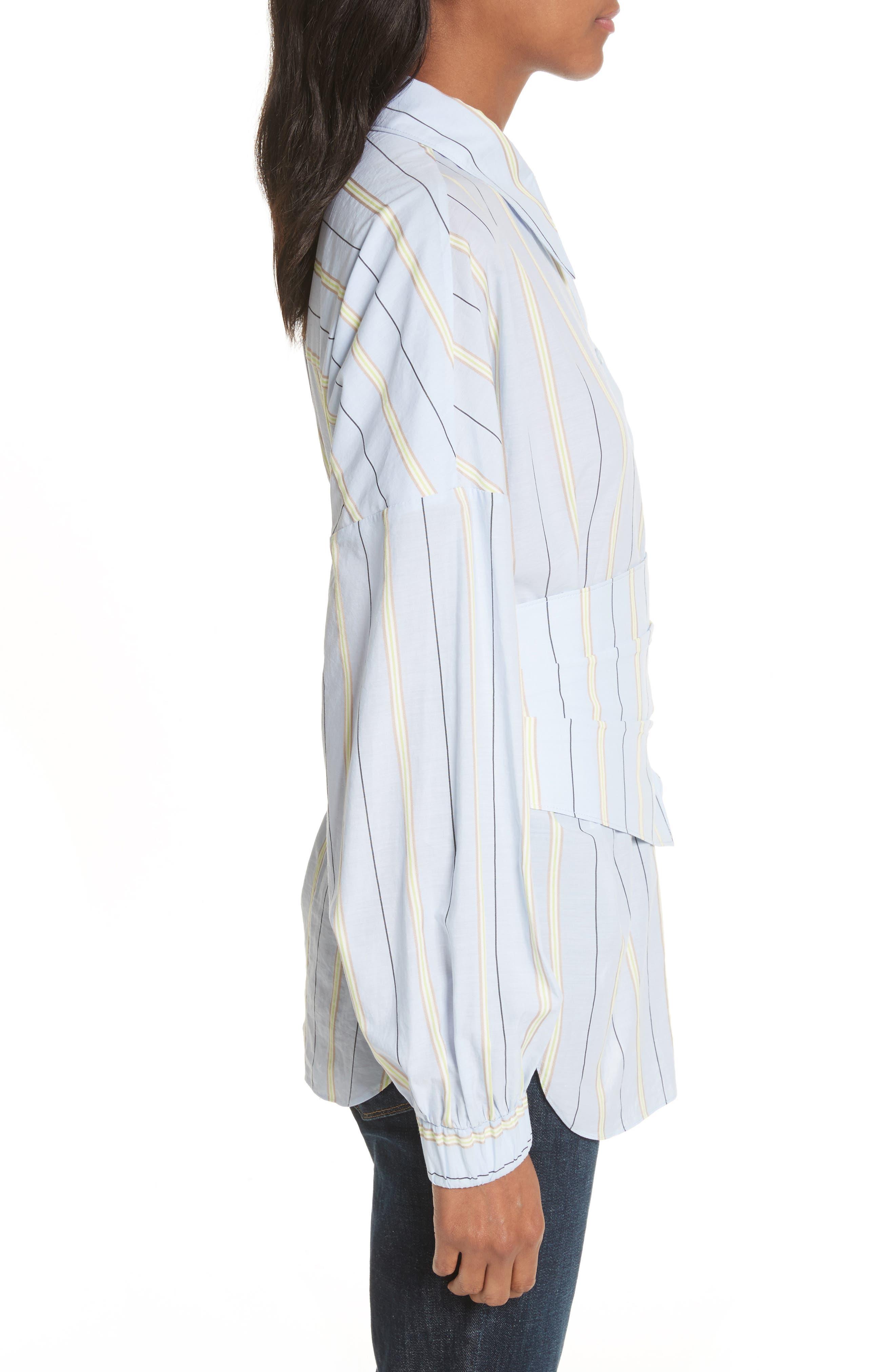 Removable Corset Stripe Shirt,                             Alternate thumbnail 3, color,                             Blue Stripe Multi