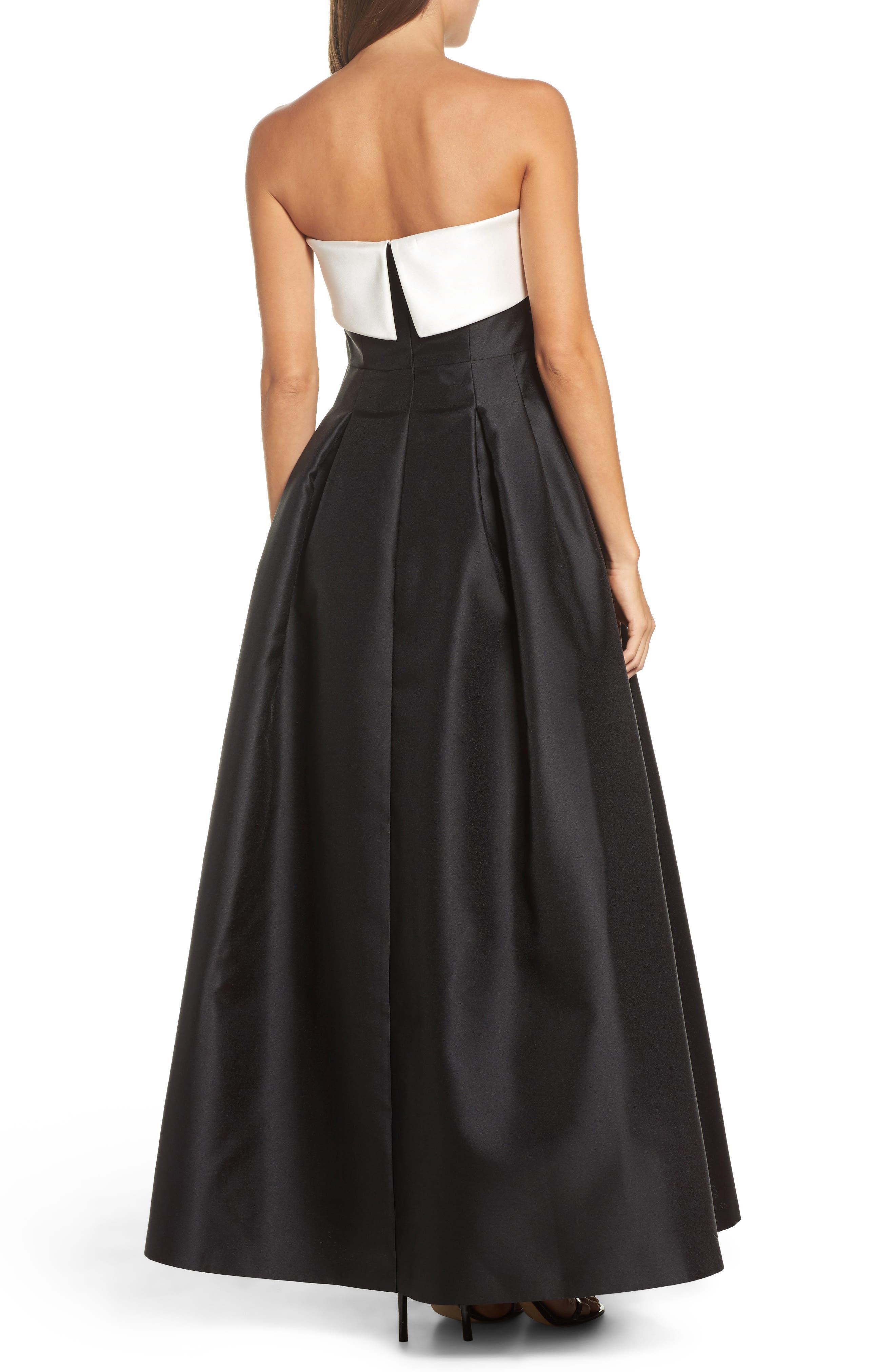 Strapless Gown,                             Alternate thumbnail 2, color,                             Ivory Black