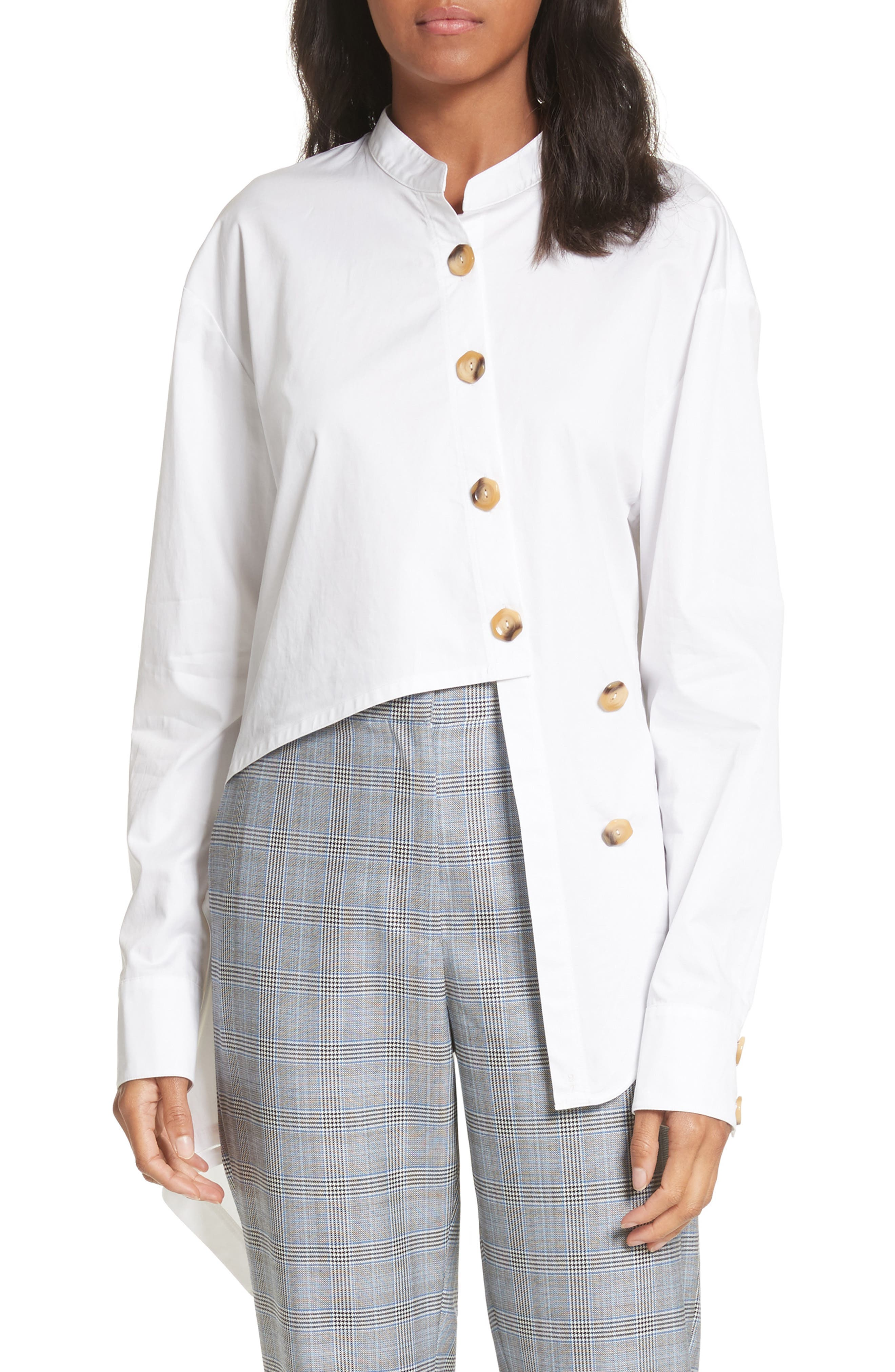 Asymmetrical Layered Shirt,                         Main,                         color, White