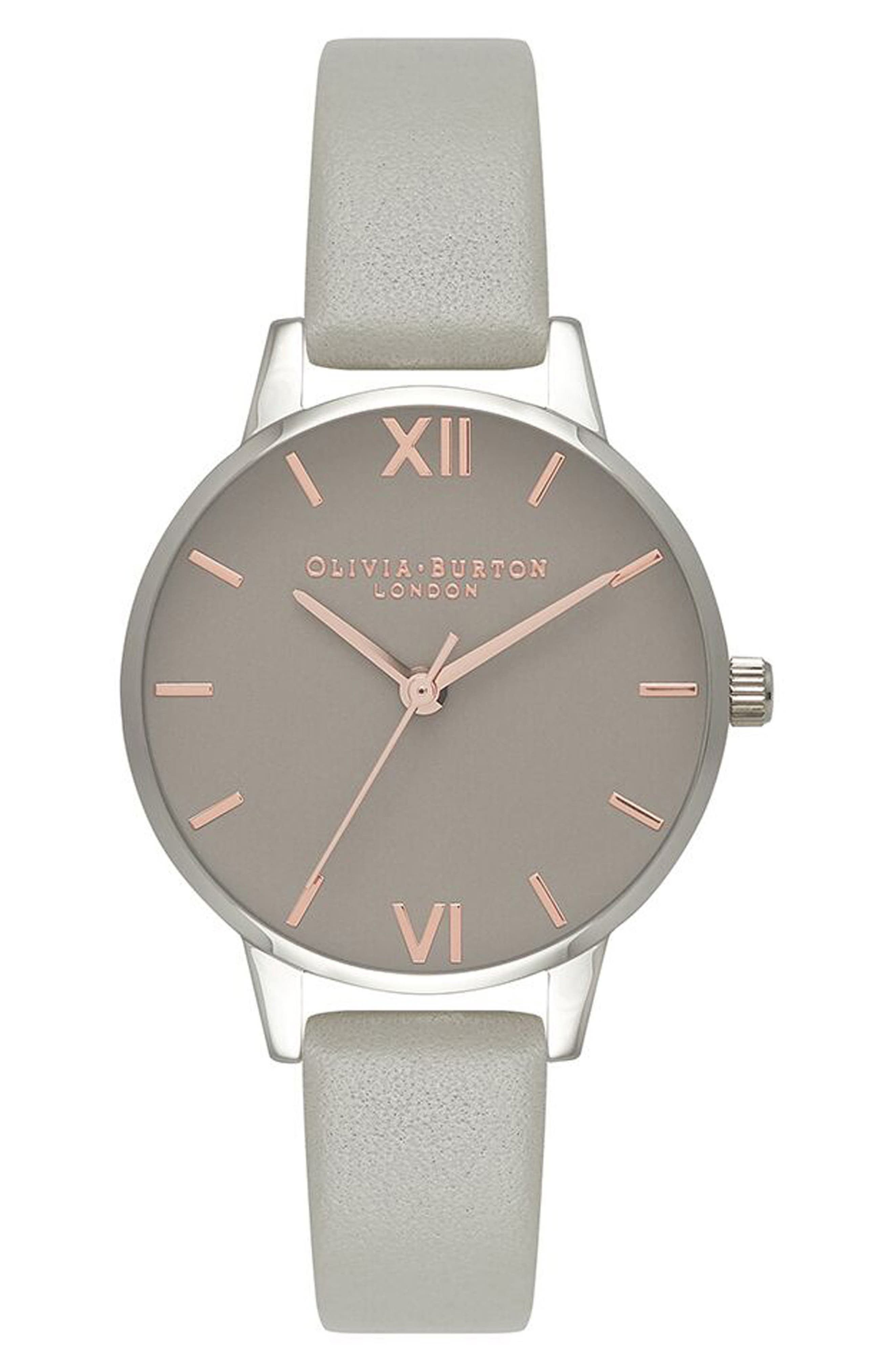 Midi Dial Leather Strap Watch, 30mm,                         Main,                         color, Grey