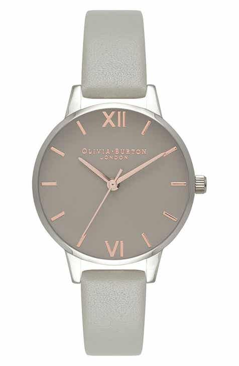 5bd6a7ccd0fb Olivia Burton Midi Dial Leather Strap Watch
