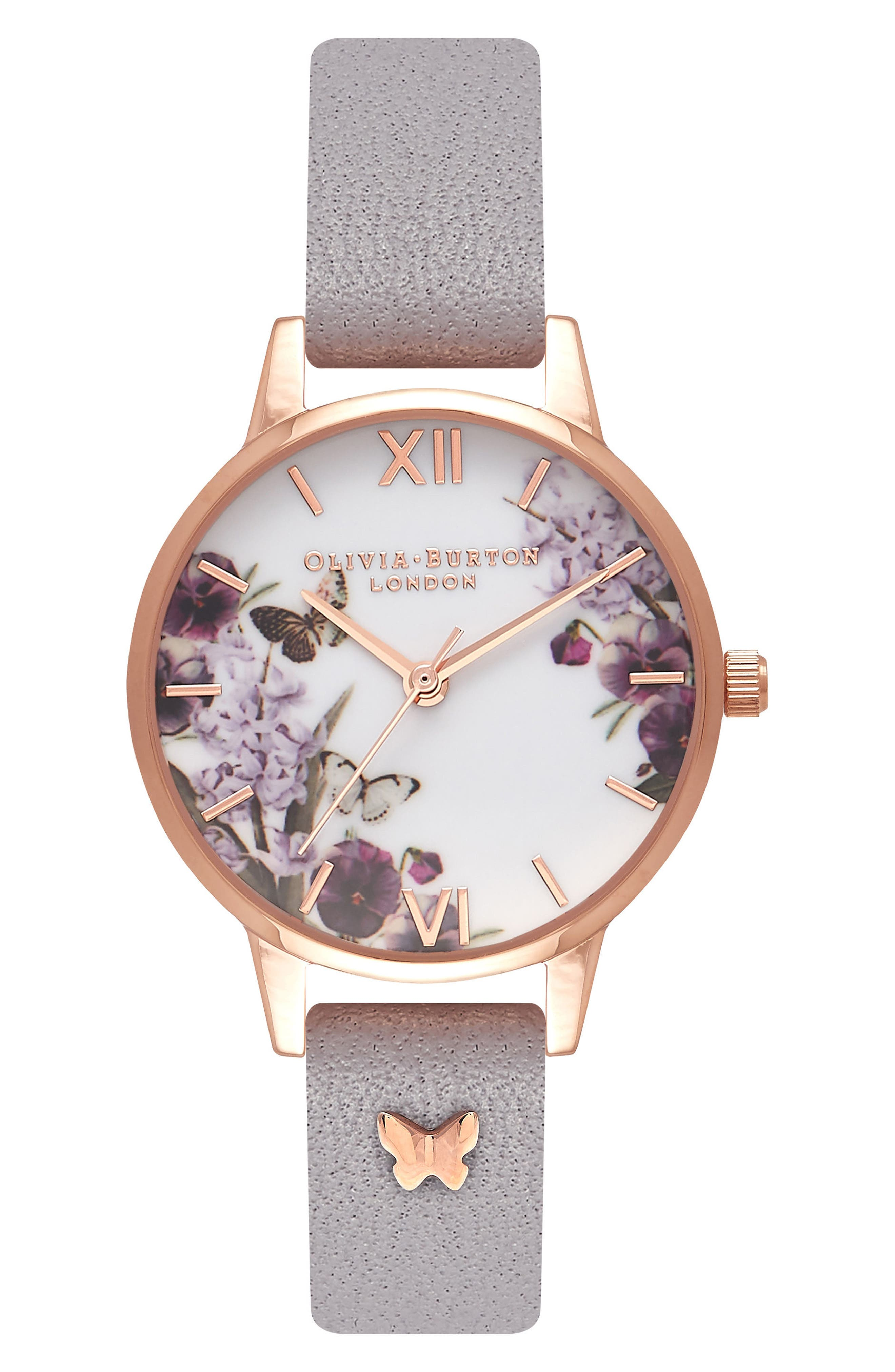 Olivia Burton Enchanted Garden Embellished Leather Strap Watch, 30mm