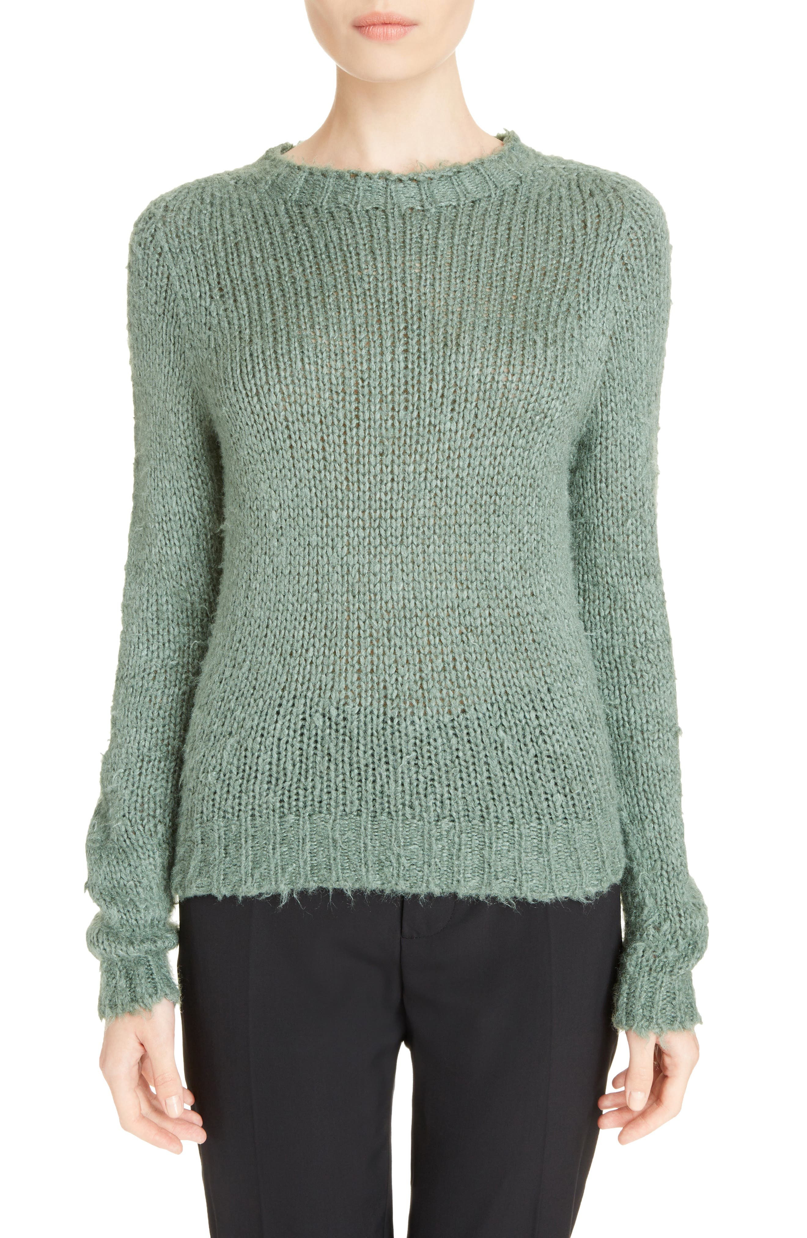 Knit Silk Sweater,                         Main,                         color, Sage