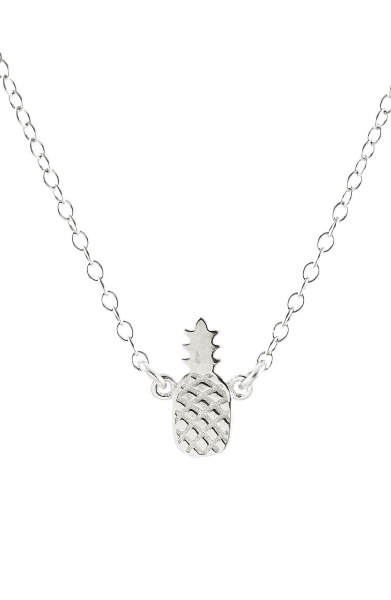 Pineapple Charm Necklace,                         Main,                         color, Silver