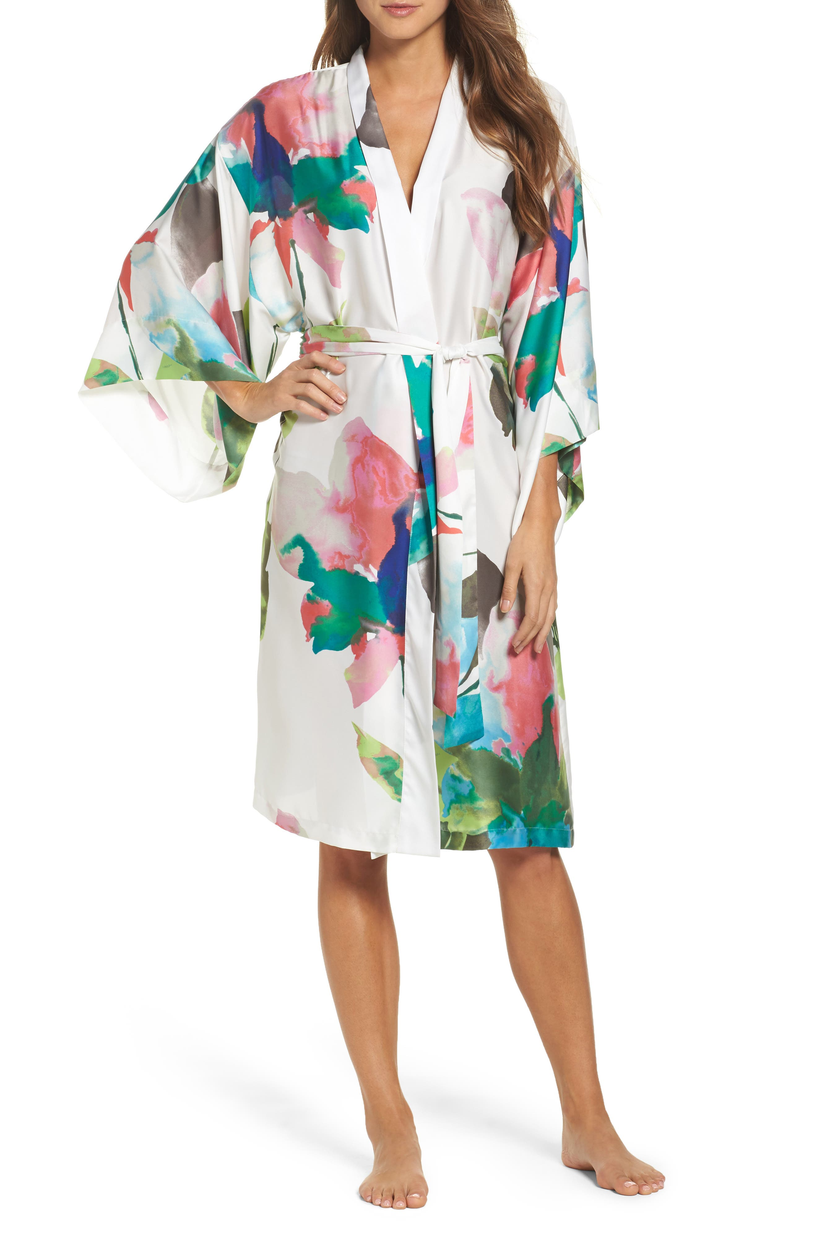 Water Lily Print Satin Wrap Robe,                             Main thumbnail 1, color,                             Mlt- Warm Wht Multi