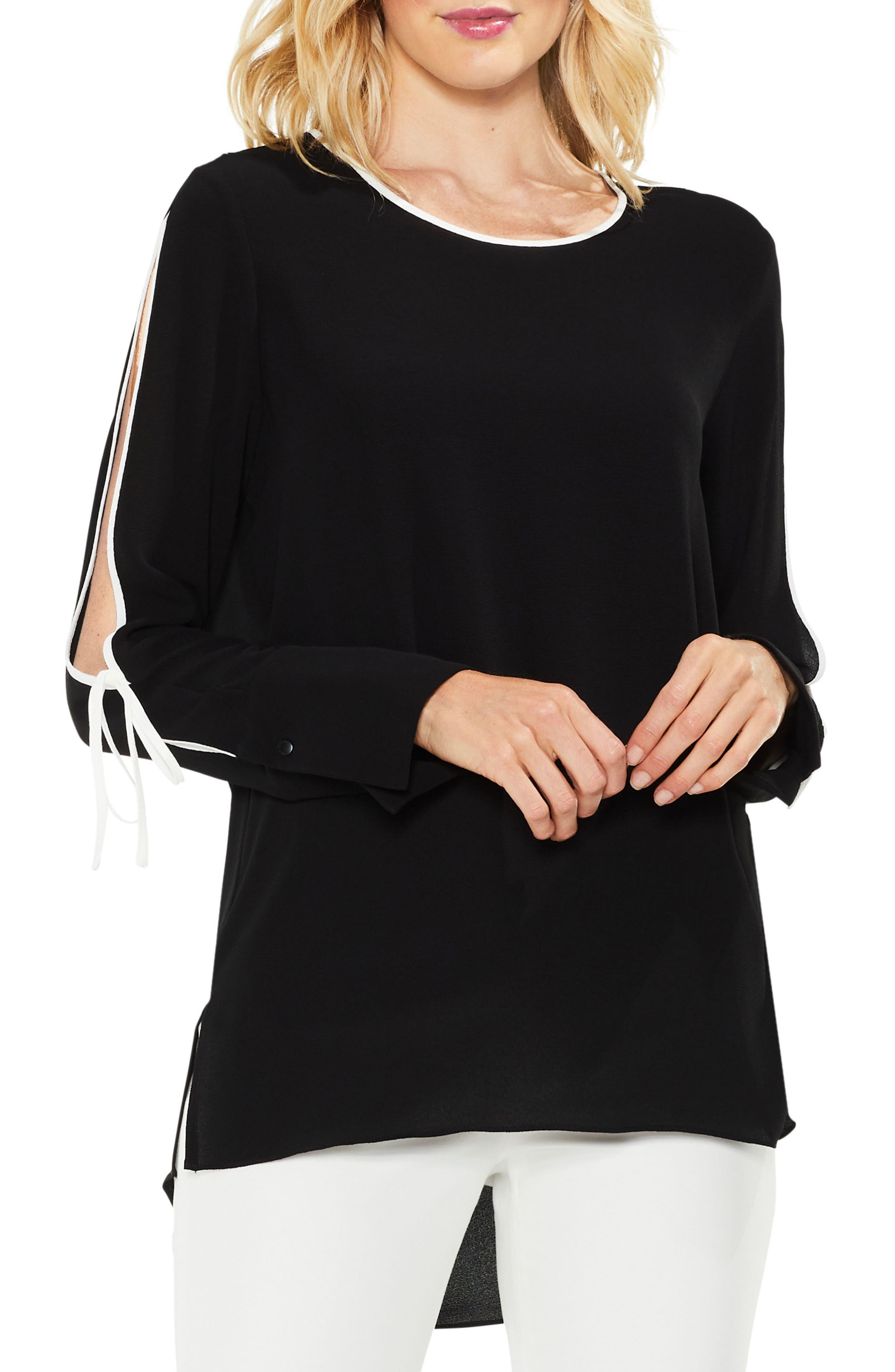 Split Sleeve Top,                         Main,                         color, Rich Black