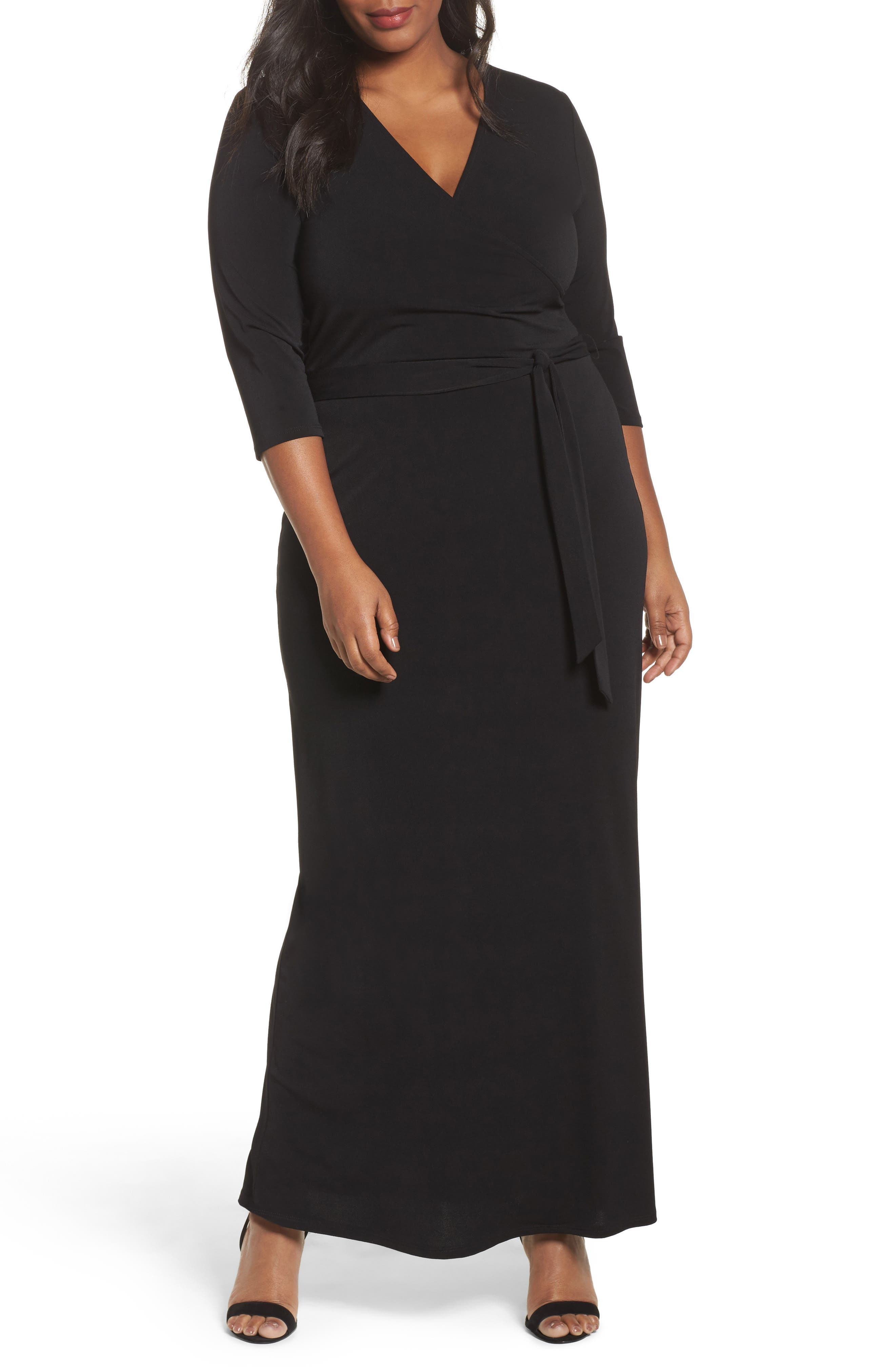 Perfect Faux Wrap Maxi Dress,                             Main thumbnail 1, color,                             Black Crepe