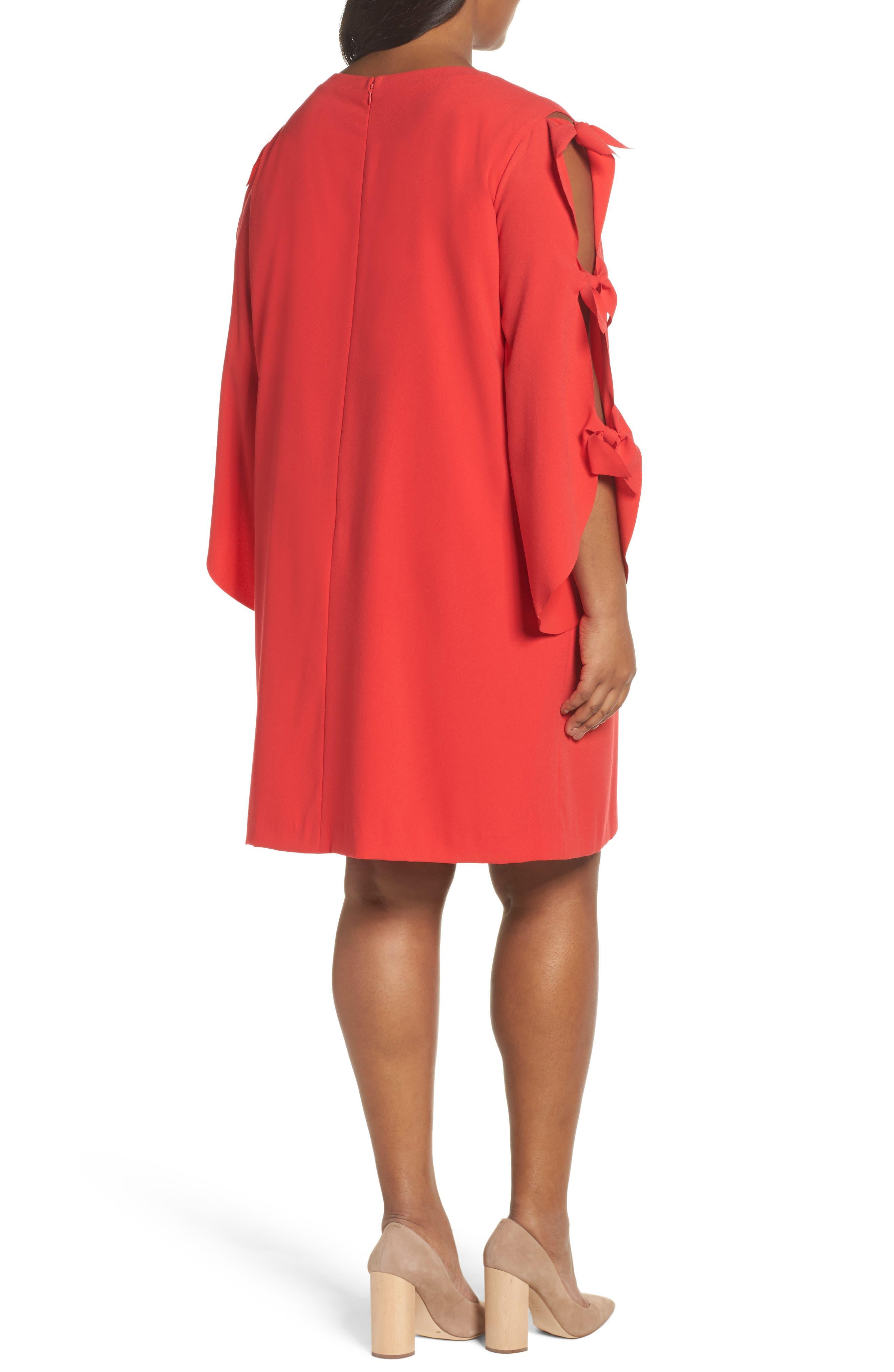 Split Tie Sleeve Shift Dress,                             Alternate thumbnail 2, color,                             Fiesta Pink