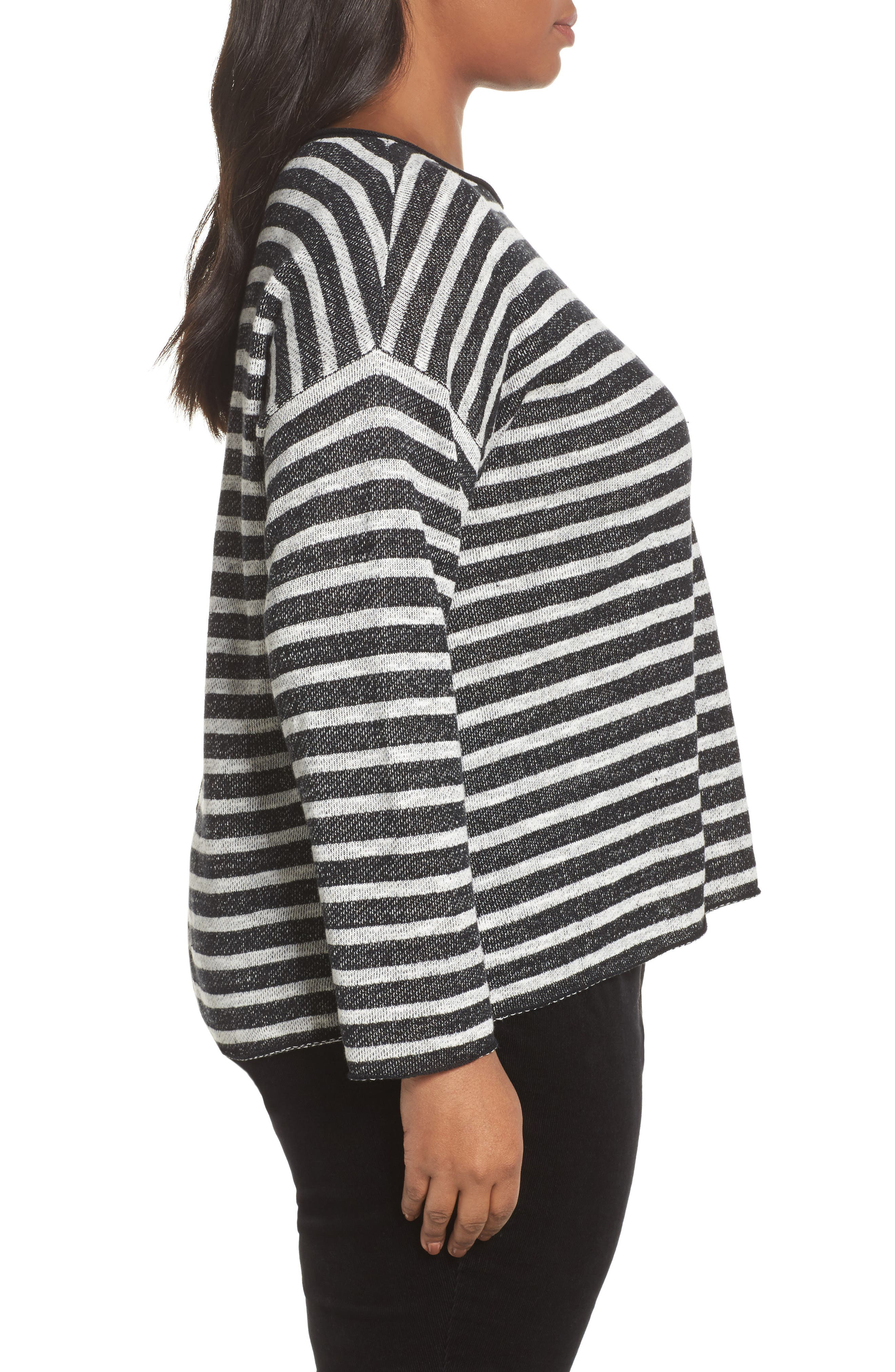 Alternate Image 3  - Eileen Fisher Striped Pullover (Plus Size)