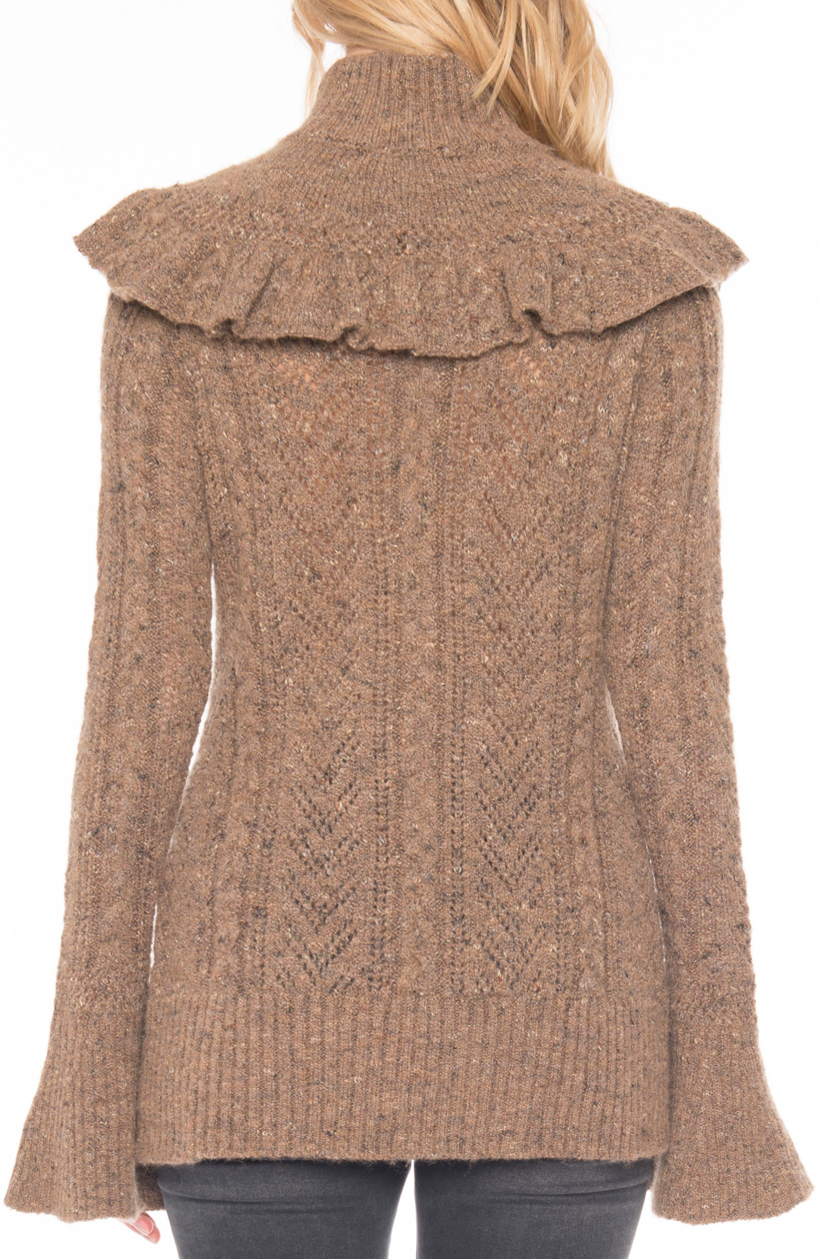 Pointelle Turtleneck Sweater,                             Alternate thumbnail 3, color,                             Toffee