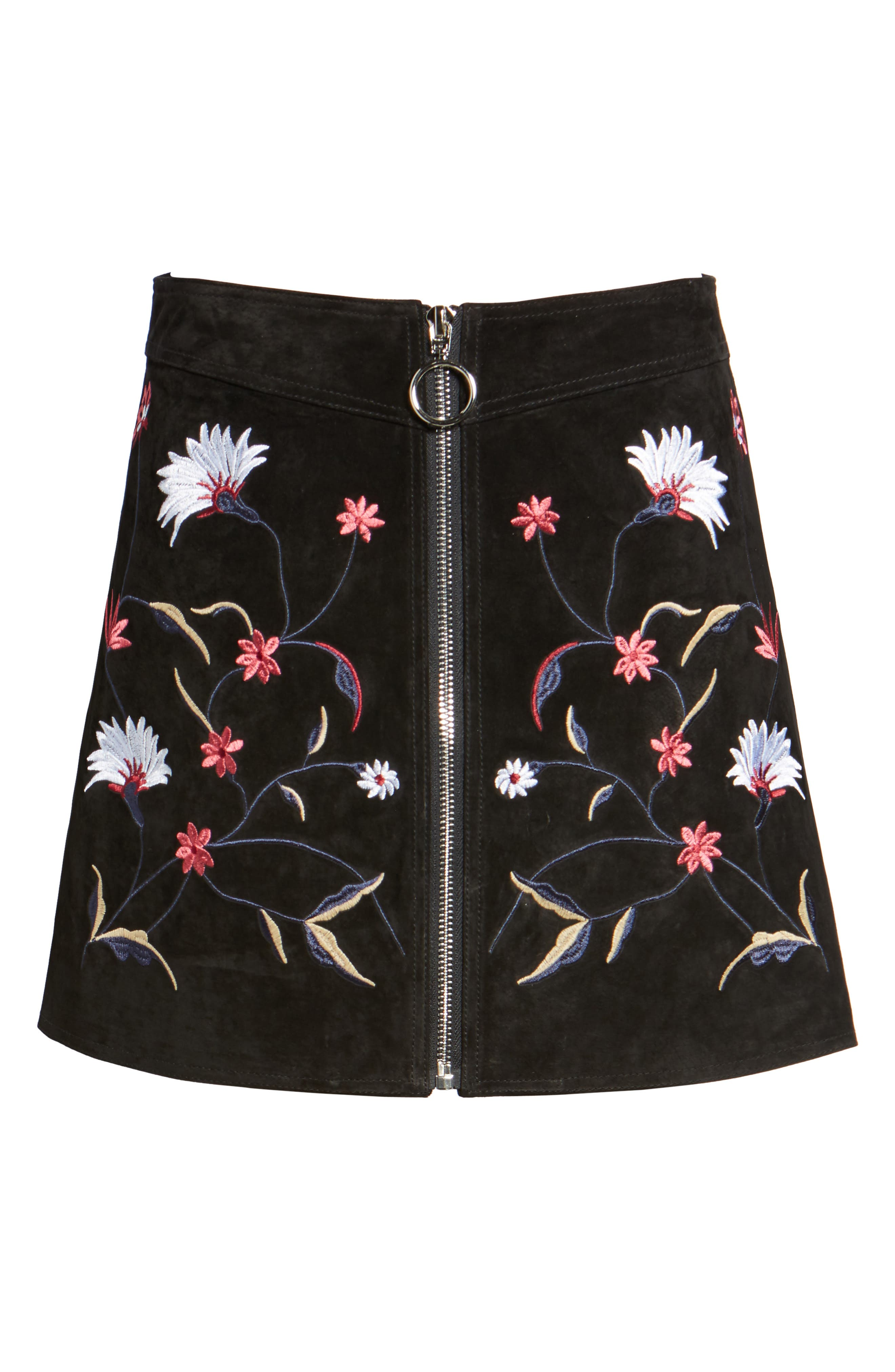 Embroidered Suede Skirt,                             Alternate thumbnail 6, color,                             Black