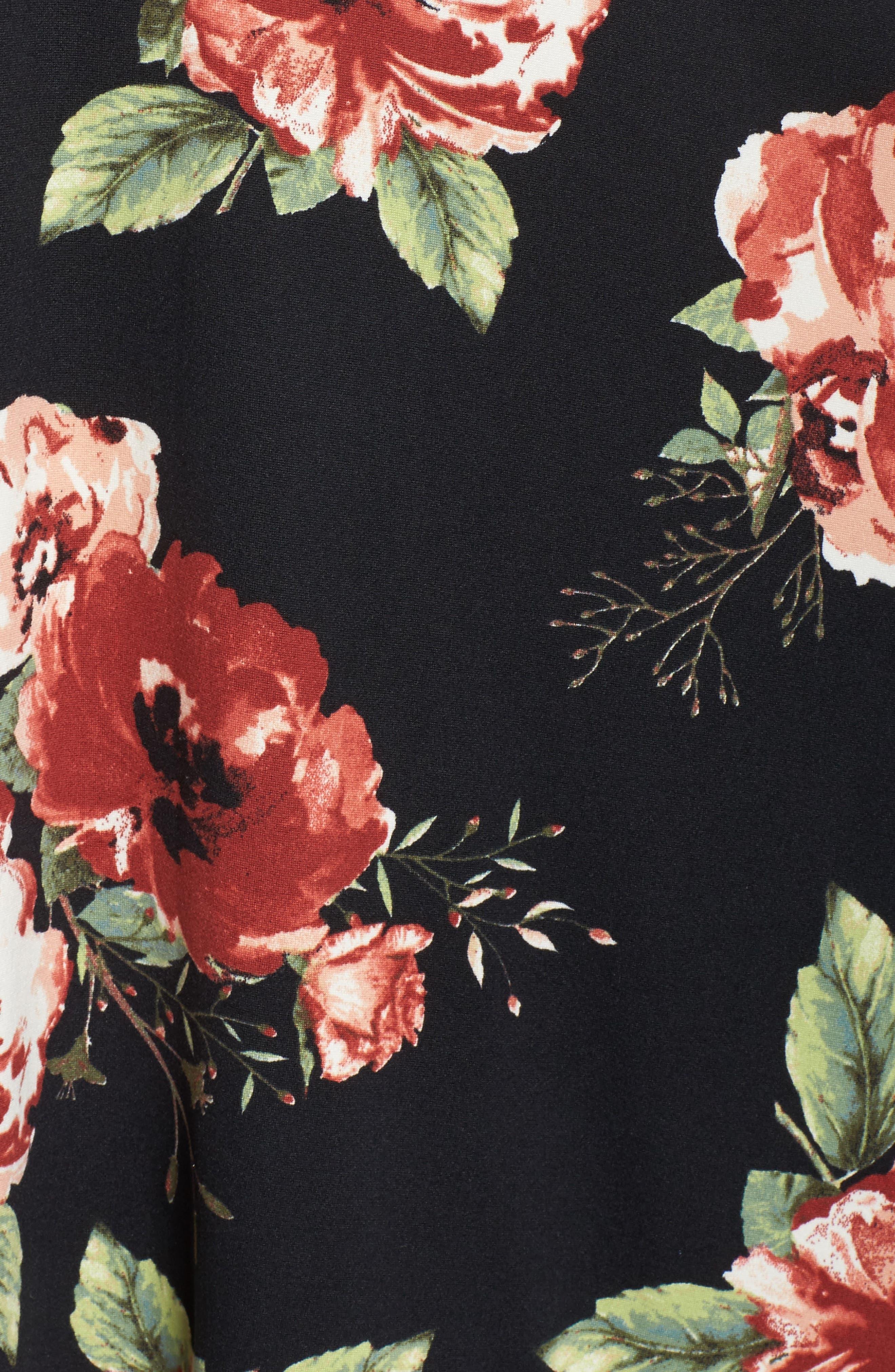 Plunging Floral Midi Dress,                             Alternate thumbnail 5, color,                             Black