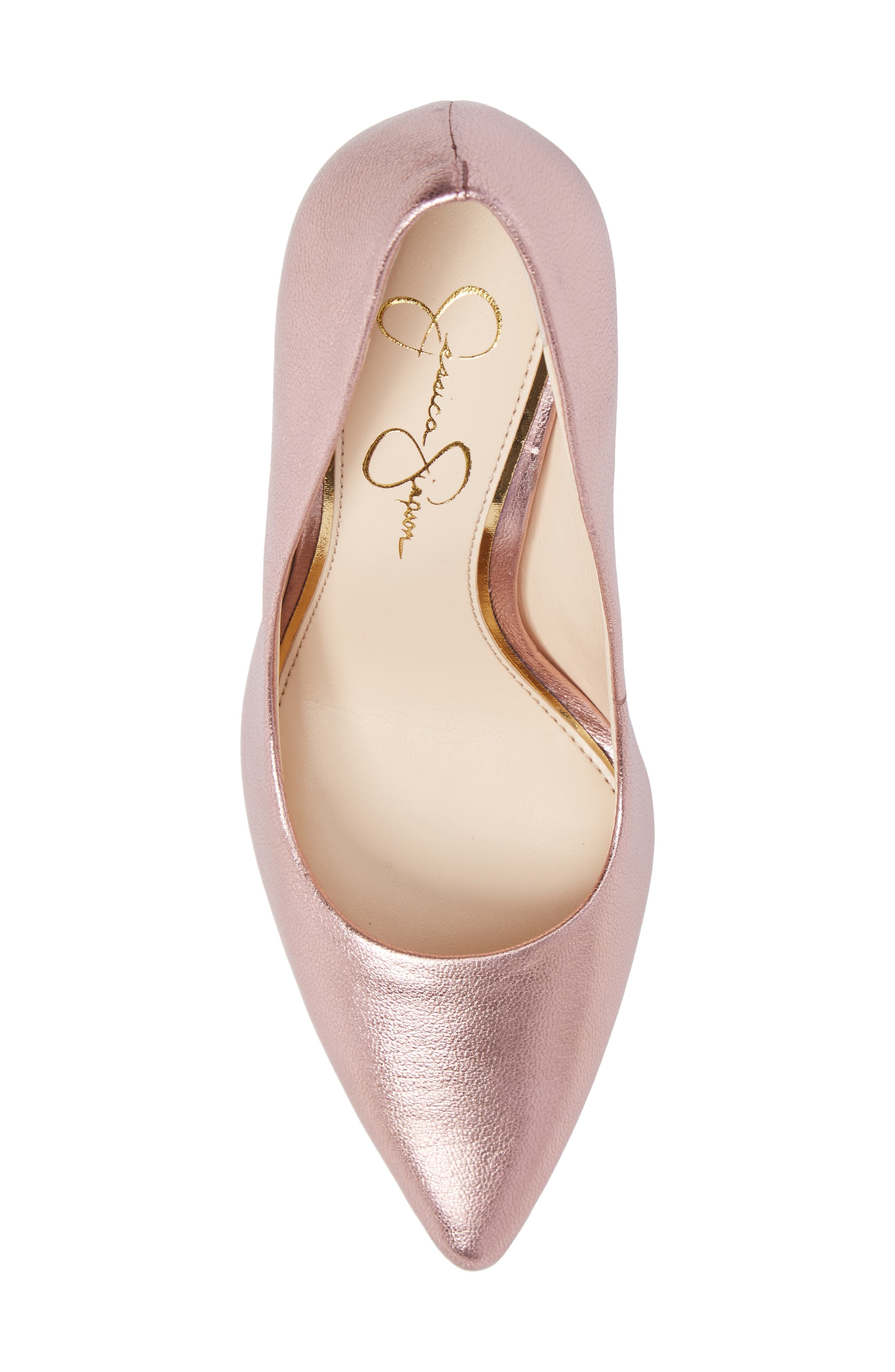 Praylee Pointy Toe Pump,                             Alternate thumbnail 5, color,                             Dolly Pink Leather