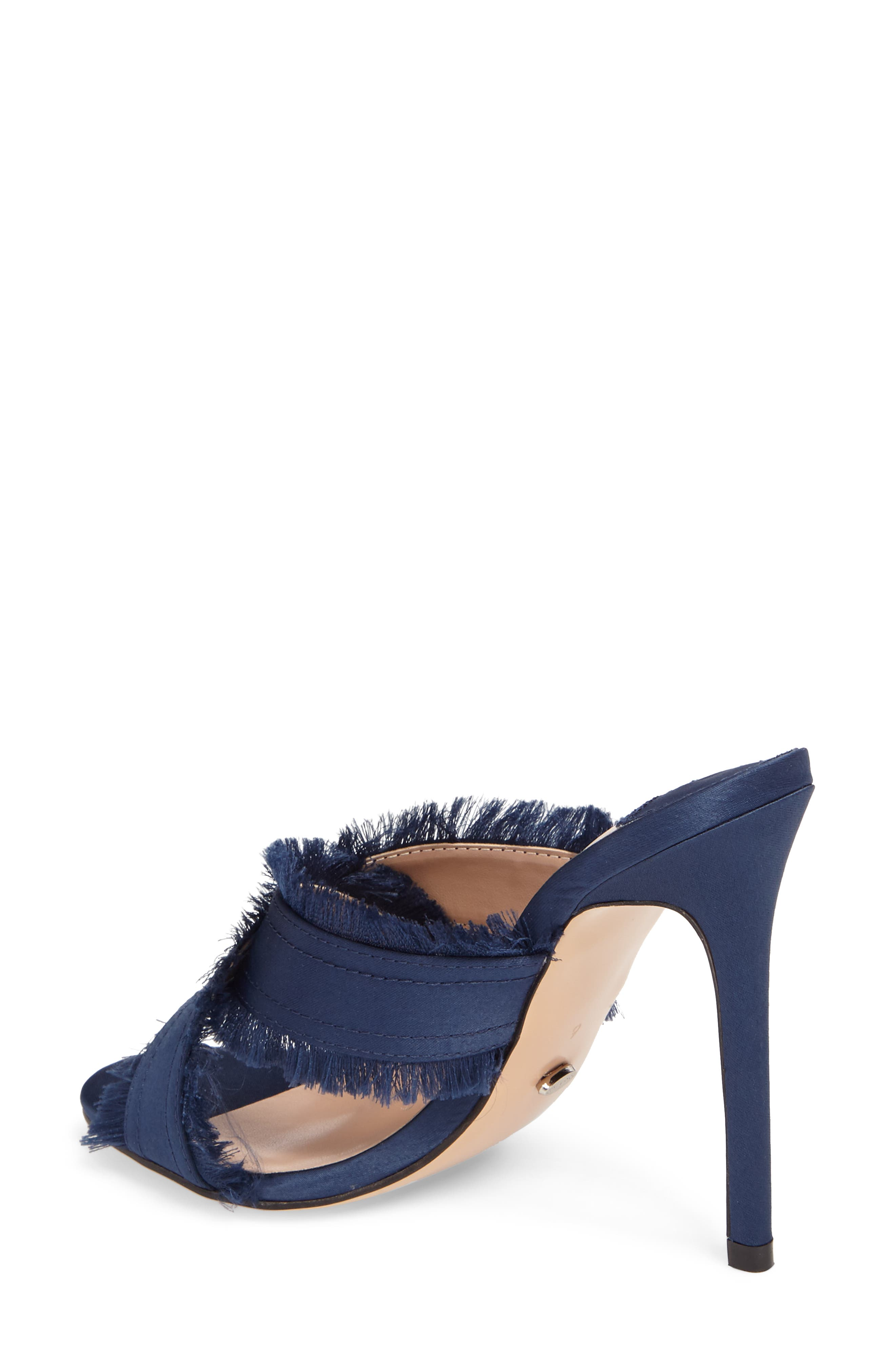 Klay Fringed Cross Strap Mule,                             Alternate thumbnail 2, color,                             Navy Luxe Satin