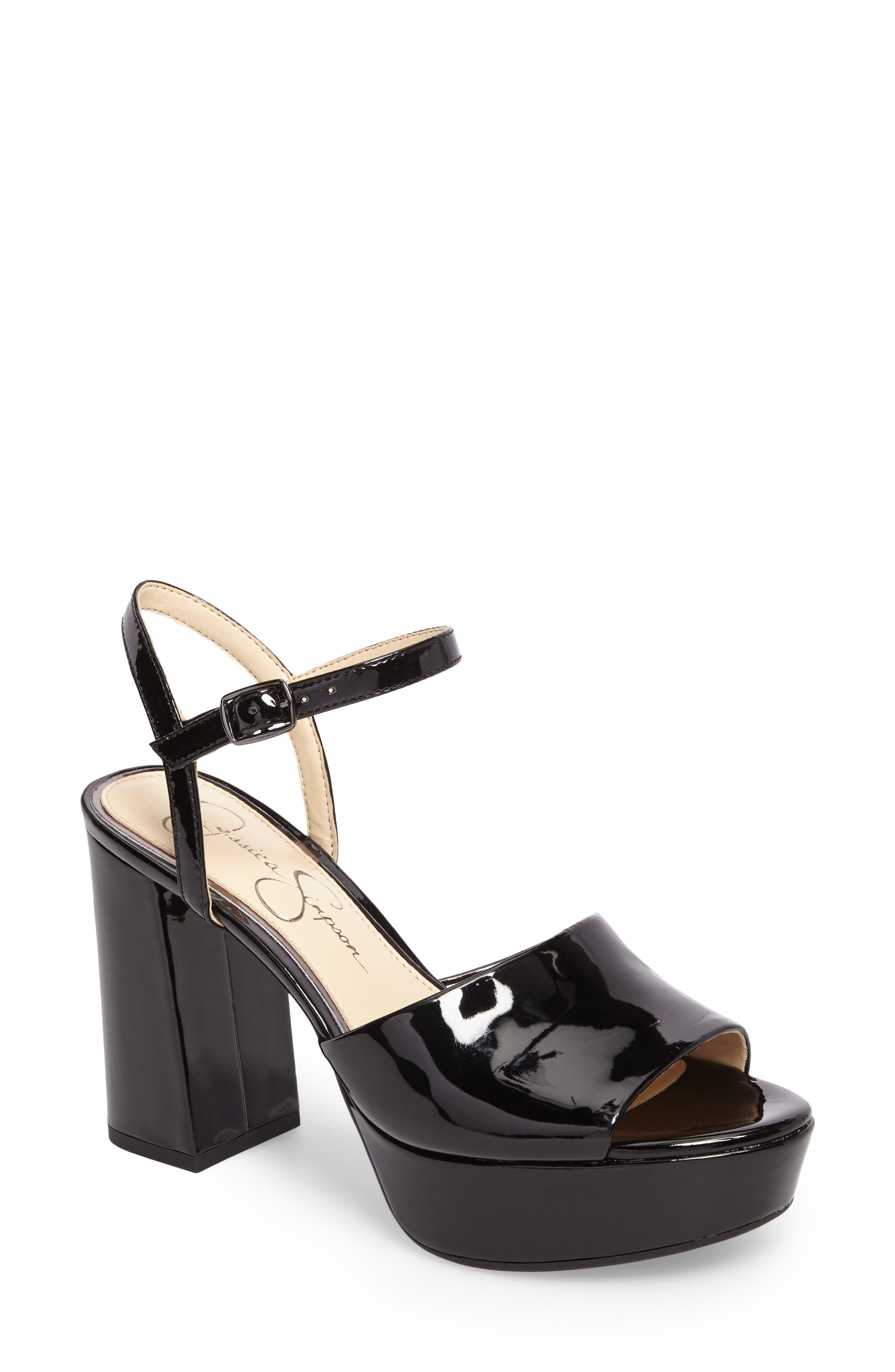 Kerrick Platform Sandal,                             Main thumbnail 1, color,                             Black Patent Leather