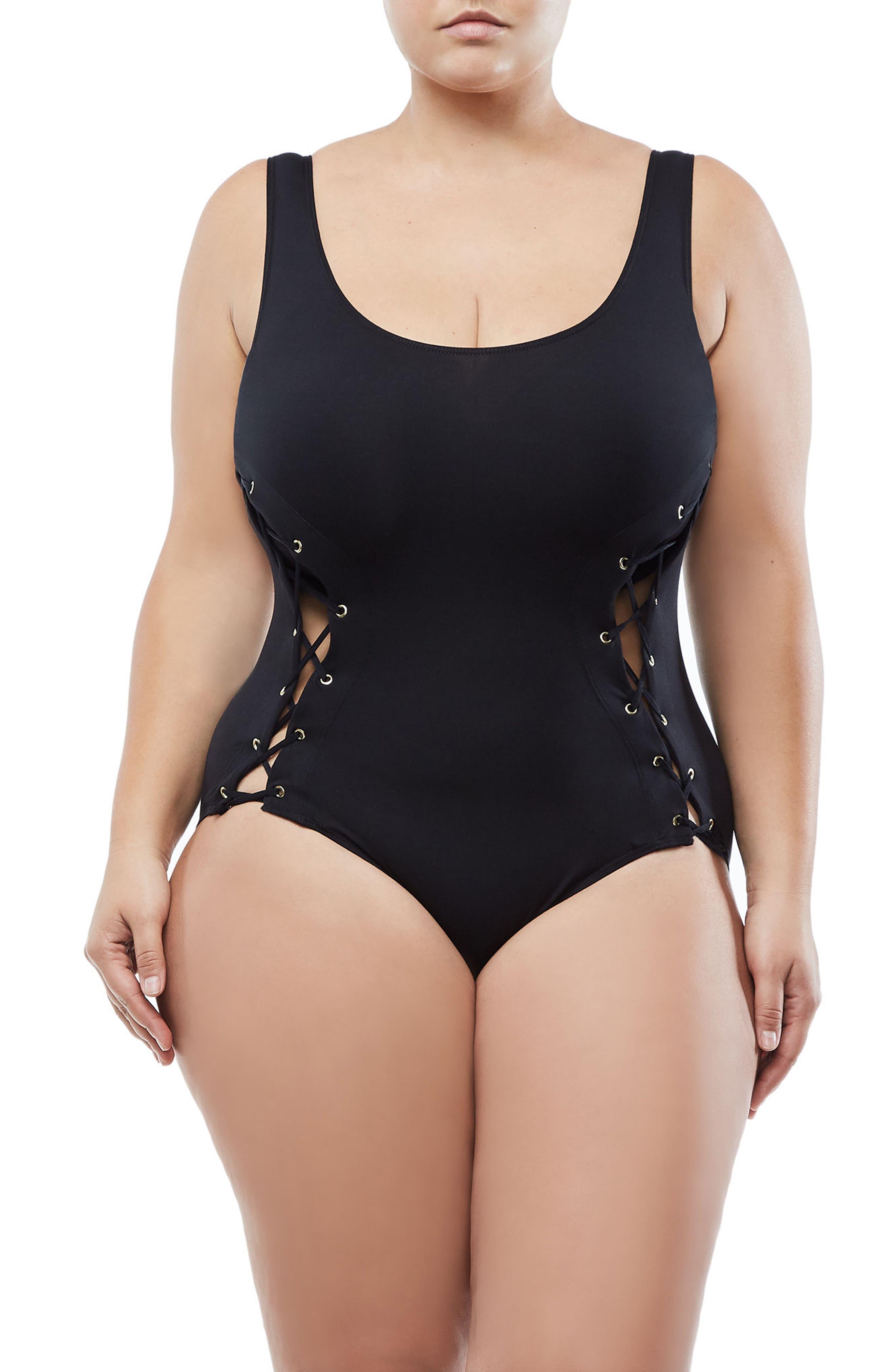 The Contour Lace-Up Bodysuit,                             Alternate thumbnail 4, color,                             Black001