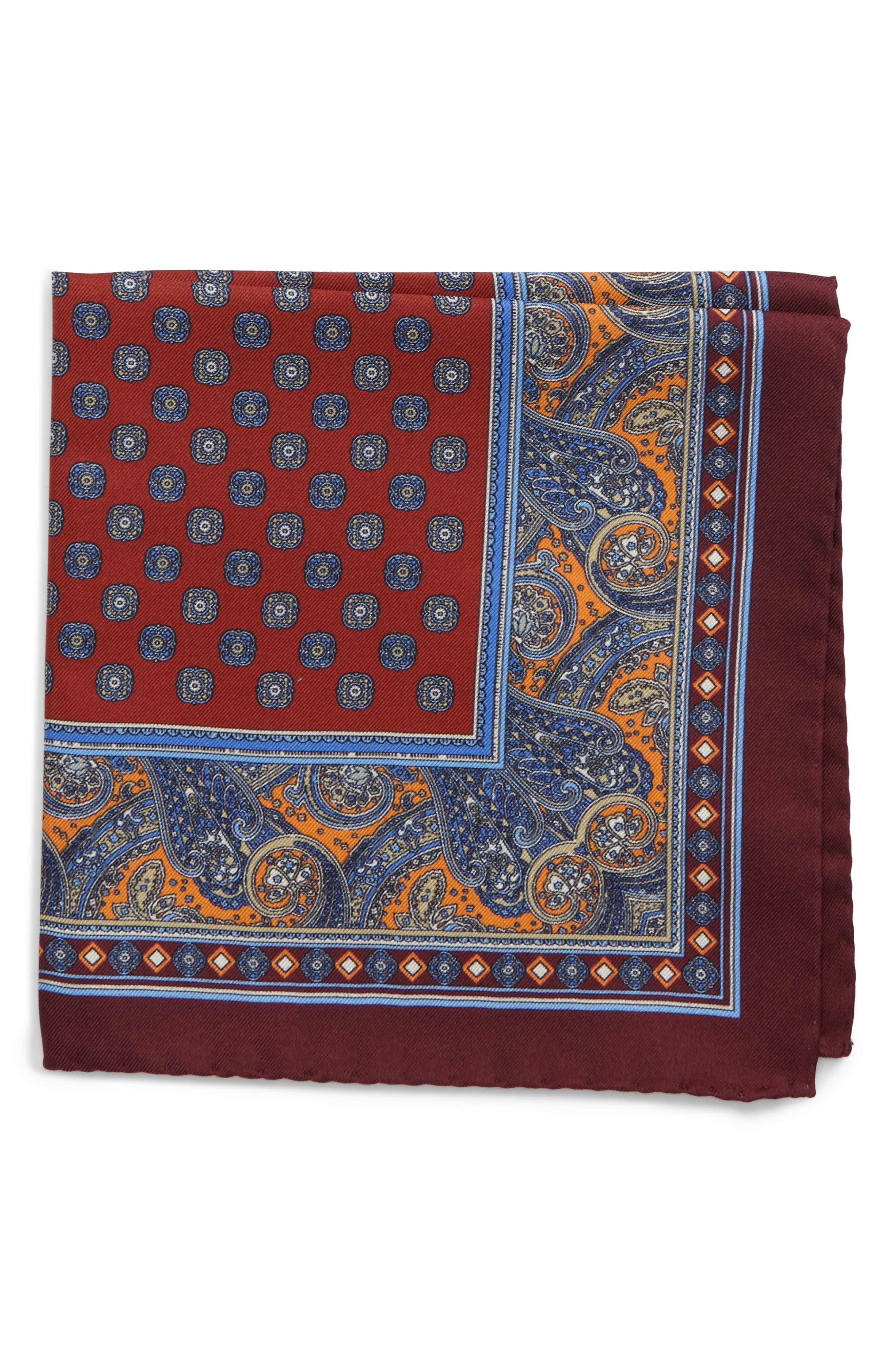 Paisley Silk Pocket Square,                         Main,                         color, Orange