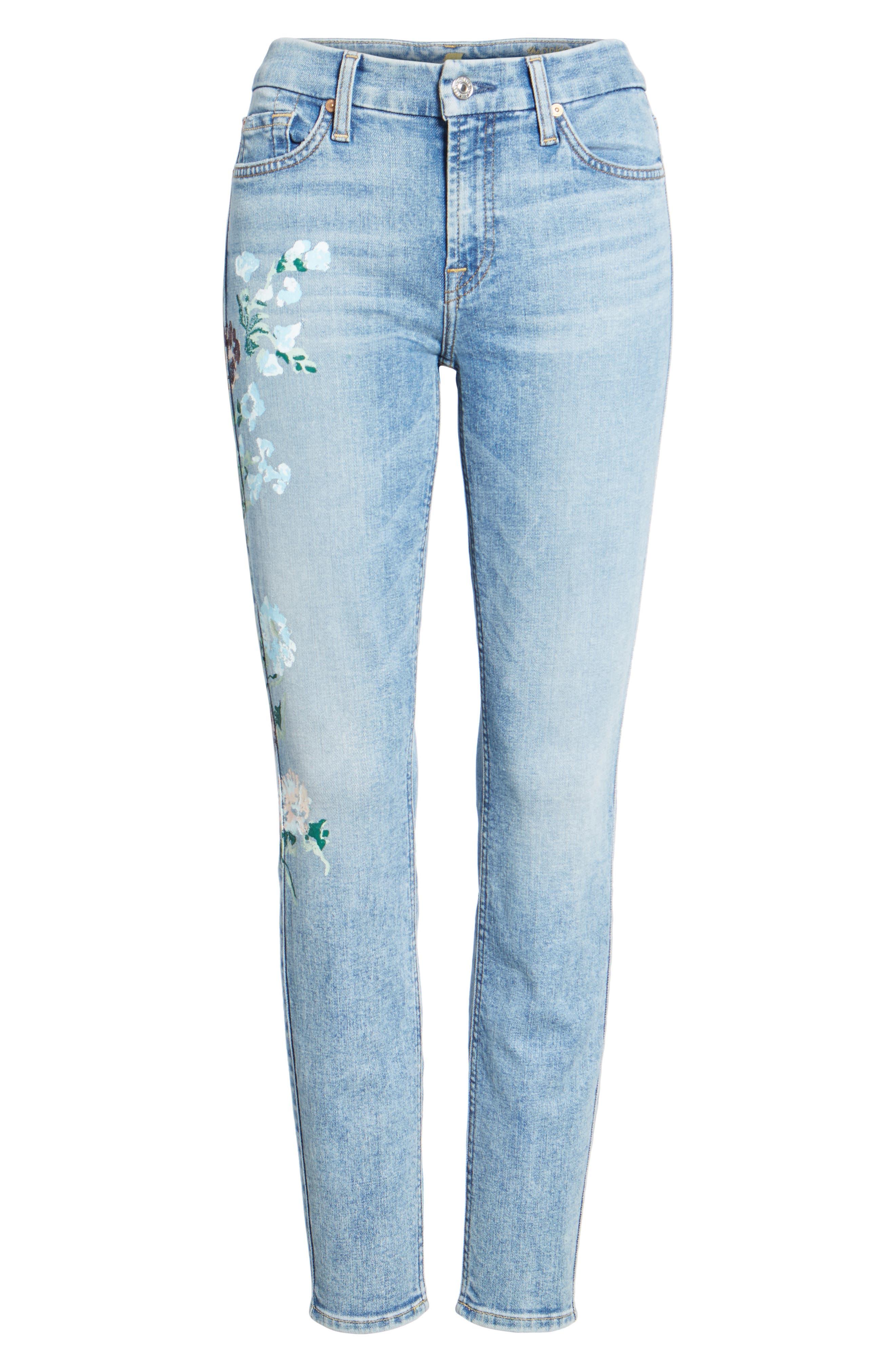 Embellished & Ripped Ankle Skinny Jeans,                             Alternate thumbnail 6, color,                             Radiant Wythe W/ Floral