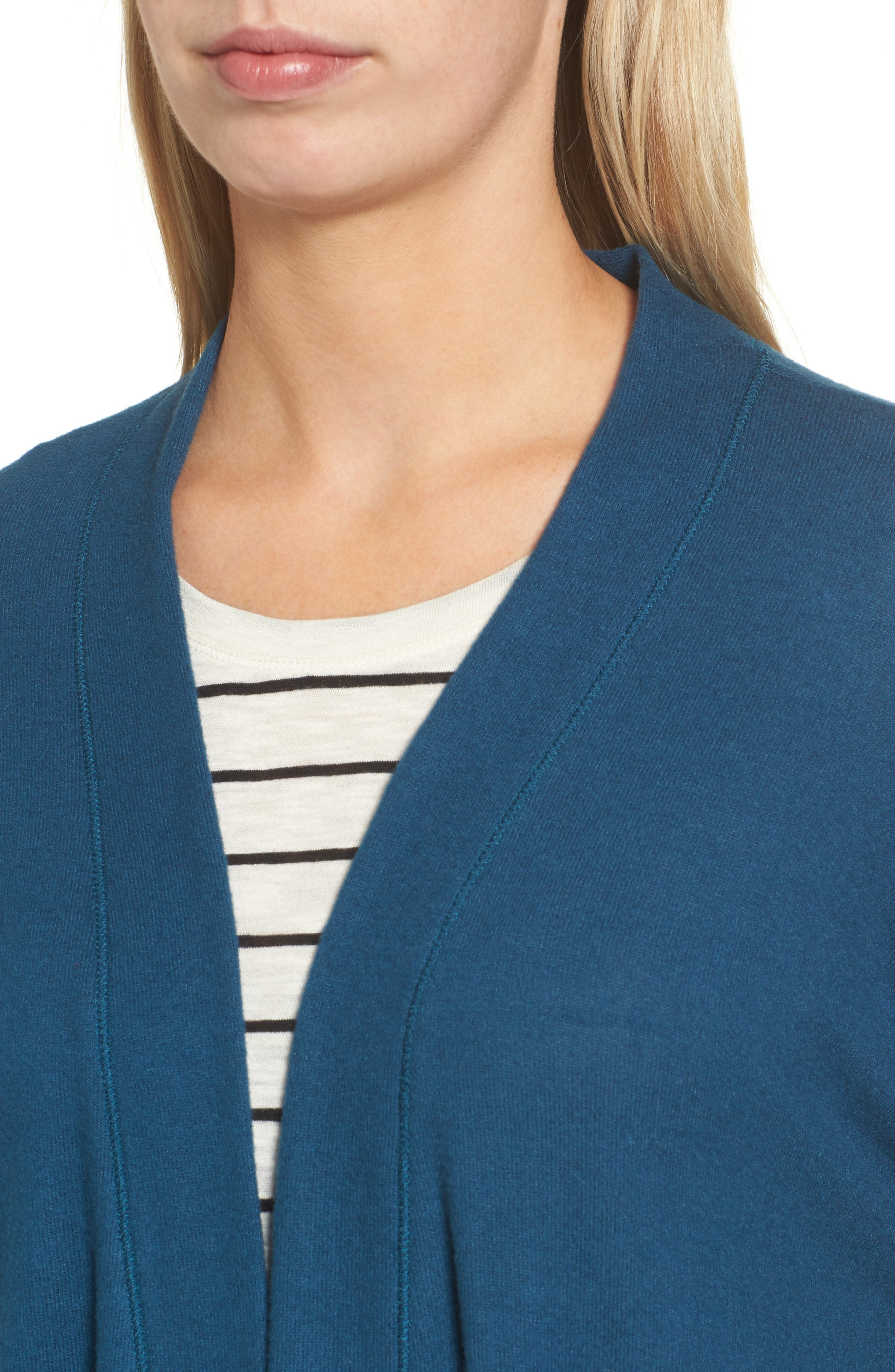 Rib Knit Cardigan,                             Alternate thumbnail 4, color,                             Blue Ceramic