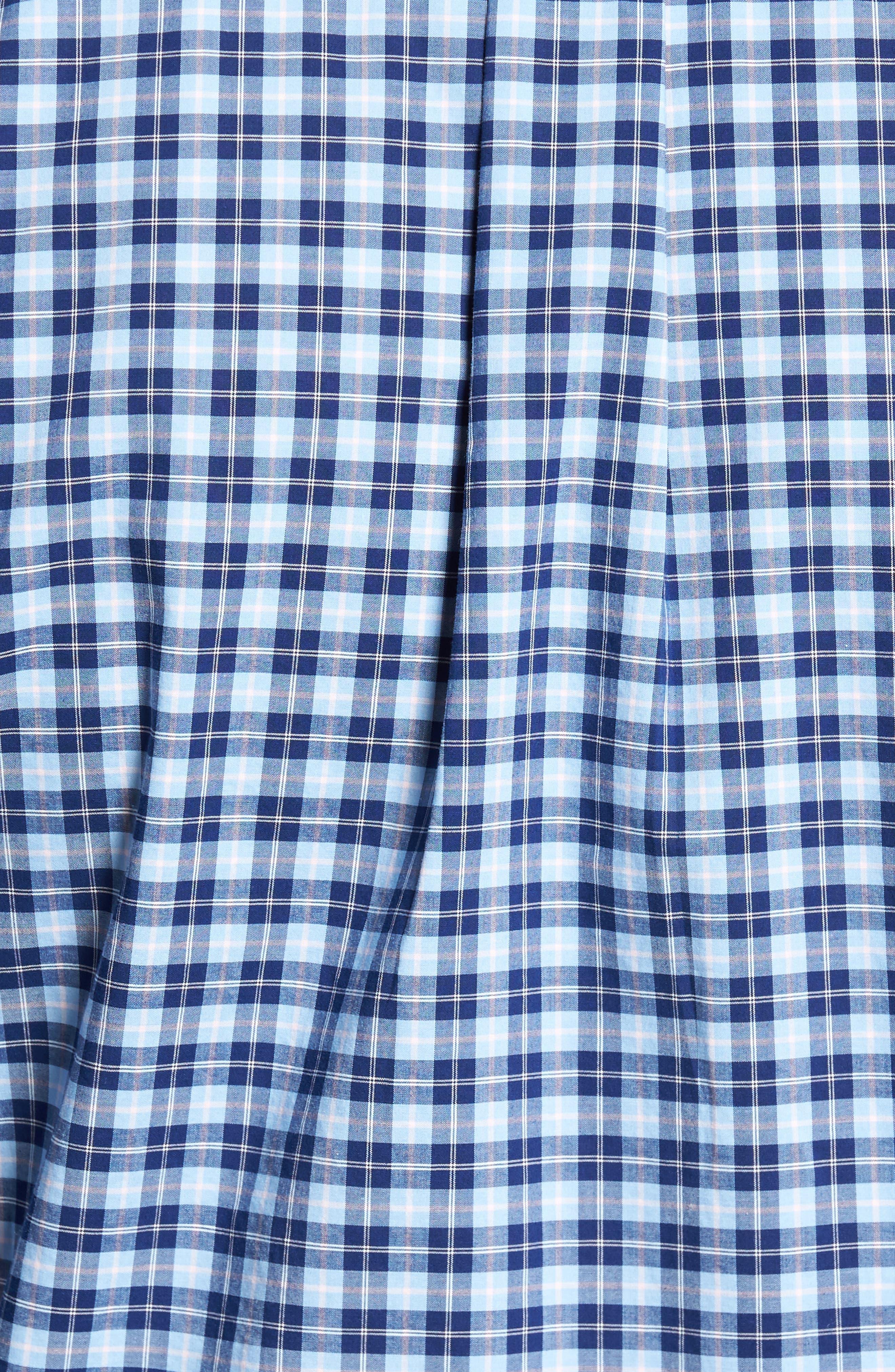 Crown Vintage Regular Fit Mini Plaid Sport Shirt,                             Alternate thumbnail 5, color,                             Tahoe Blue