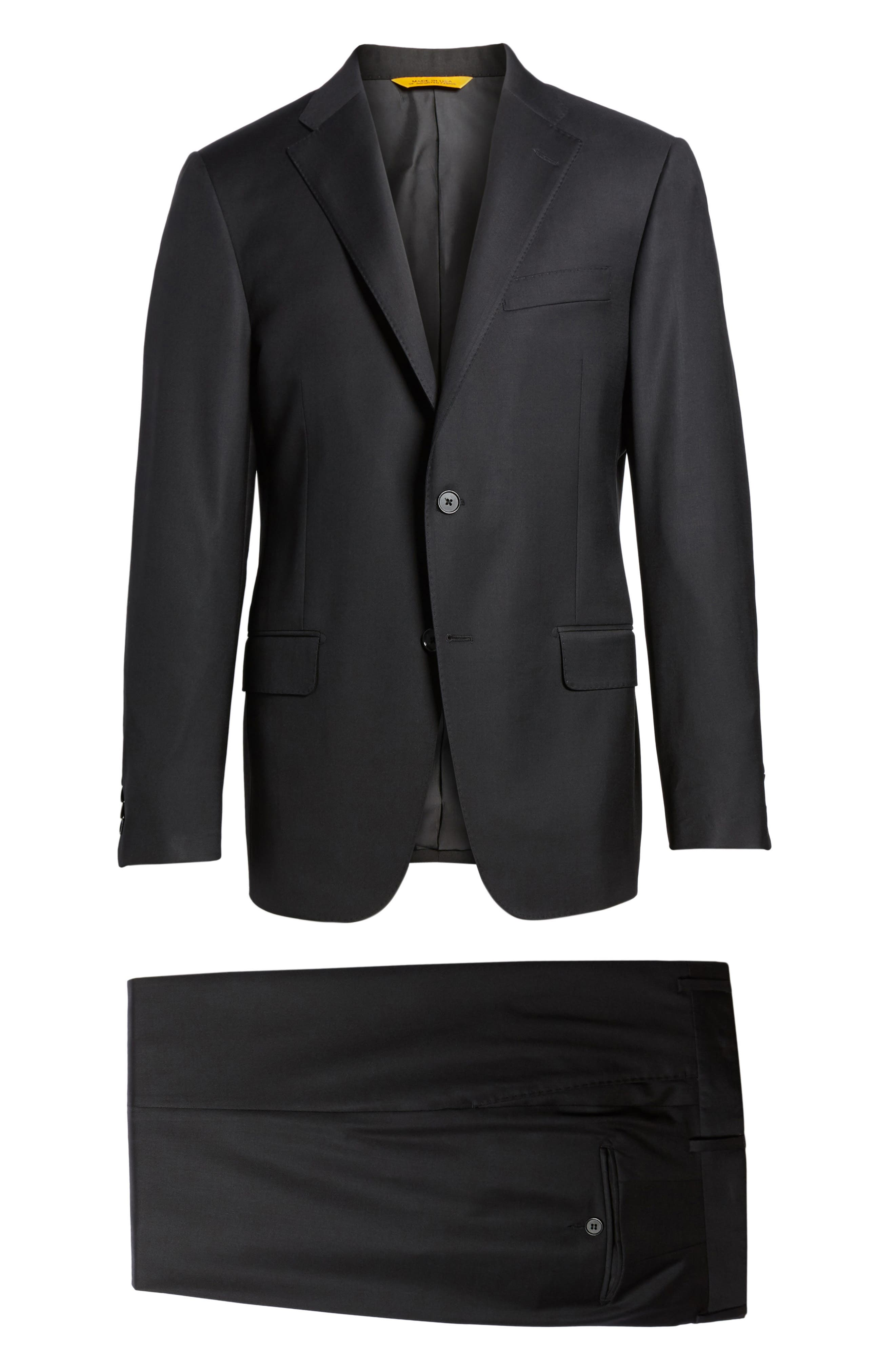 Modern H Fit Solid Loro Piana Wool Suit,                             Alternate thumbnail 8, color,                             Black Solid