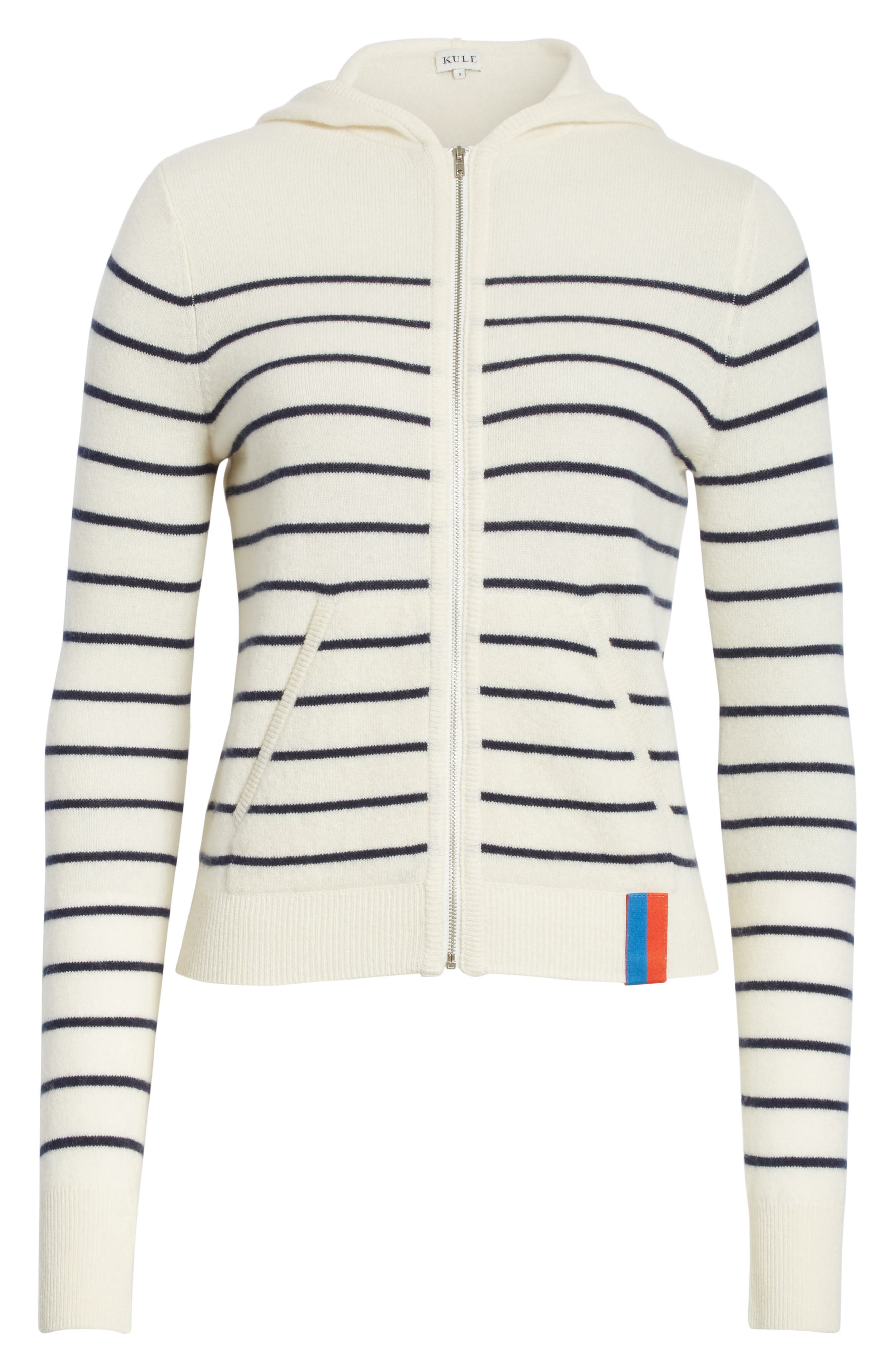 The Drake Stripe Cashmere Hoodie Sweater,                             Alternate thumbnail 6, color,                             Cream/ Navy