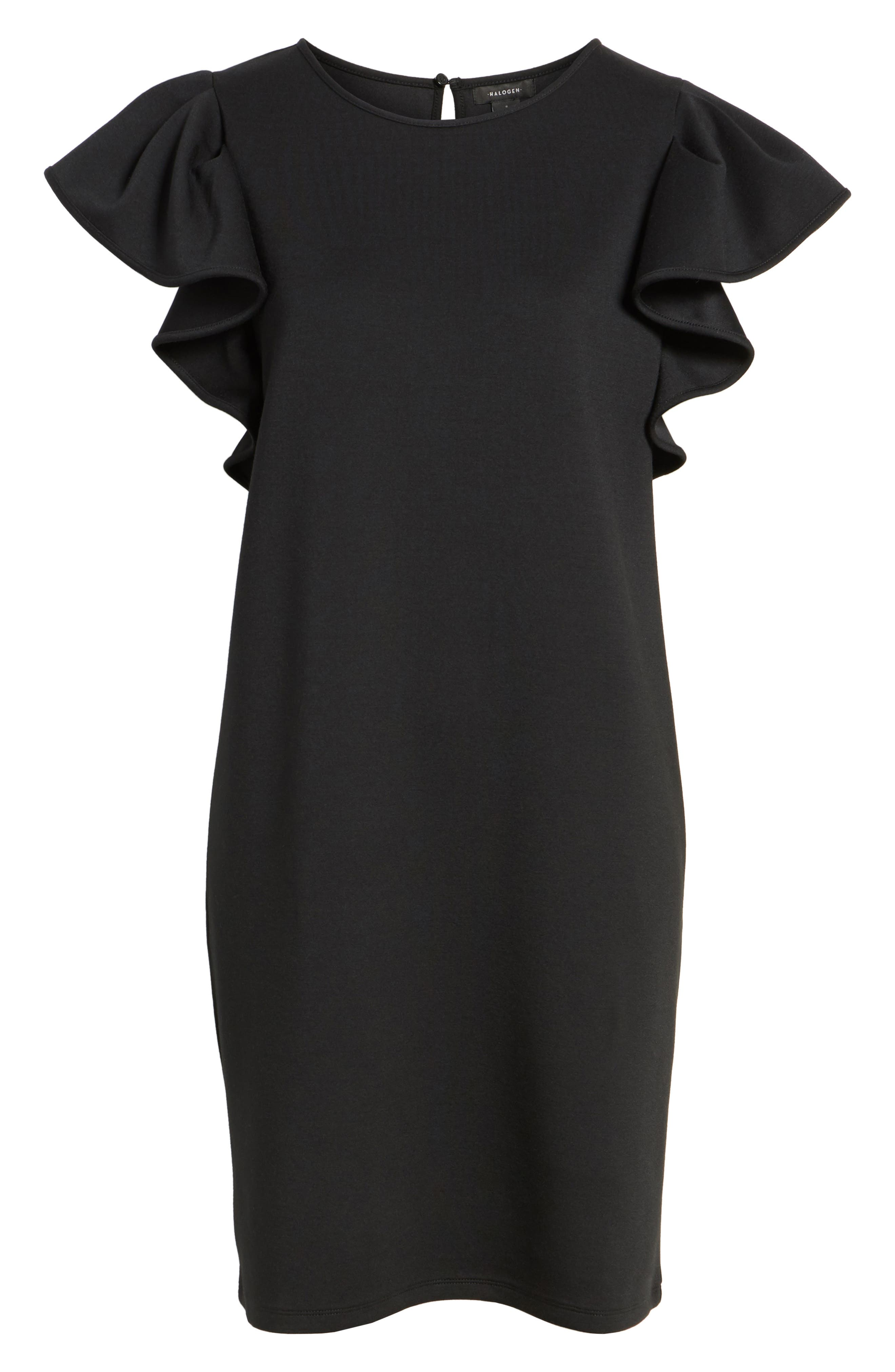 Ruffle Sleeve Neoprene Shift Dress,                             Alternate thumbnail 6, color,                             Black