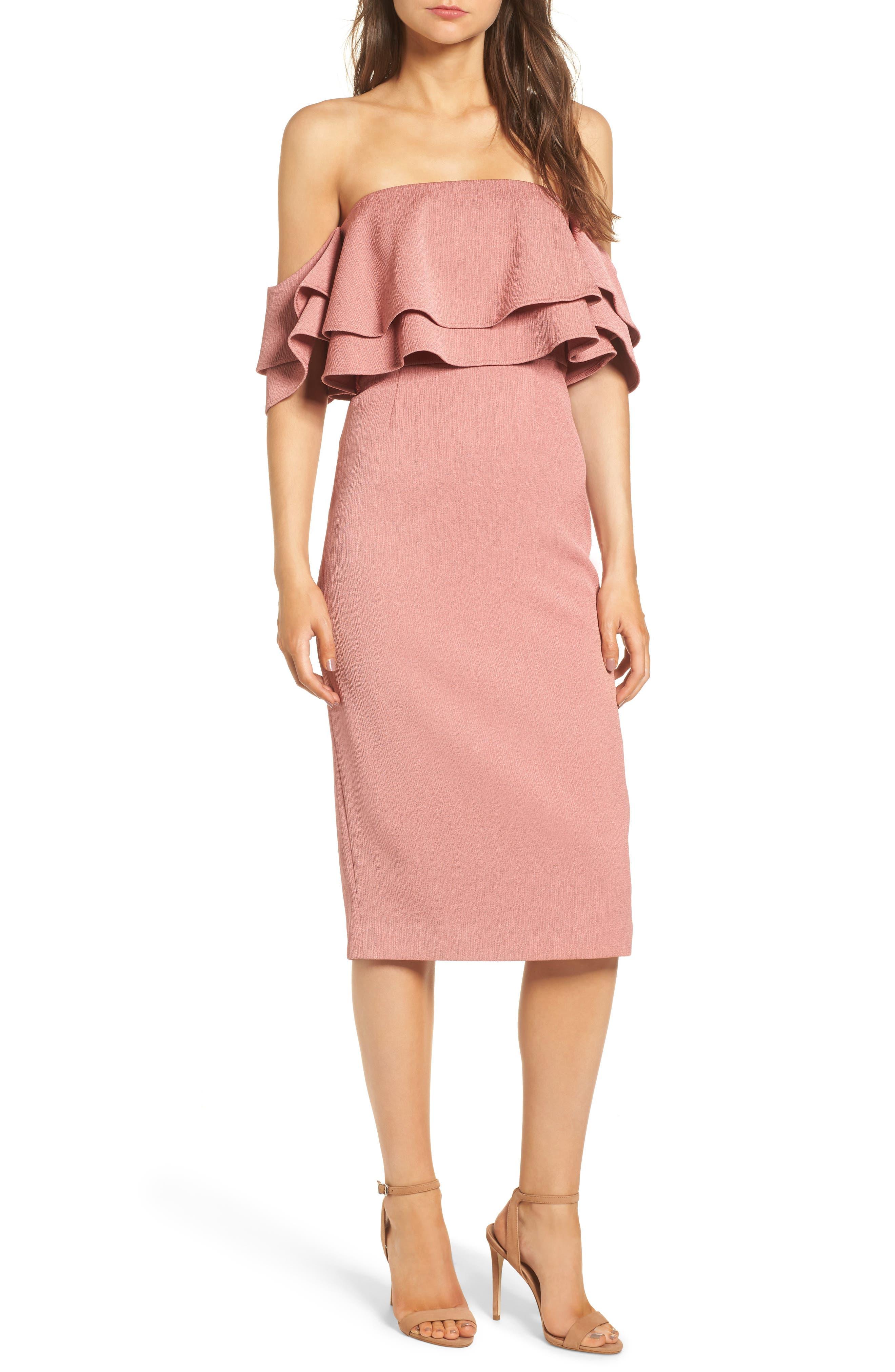 No Reason Off the Shoulder Sheath Dress,                         Main,                         color, Spice