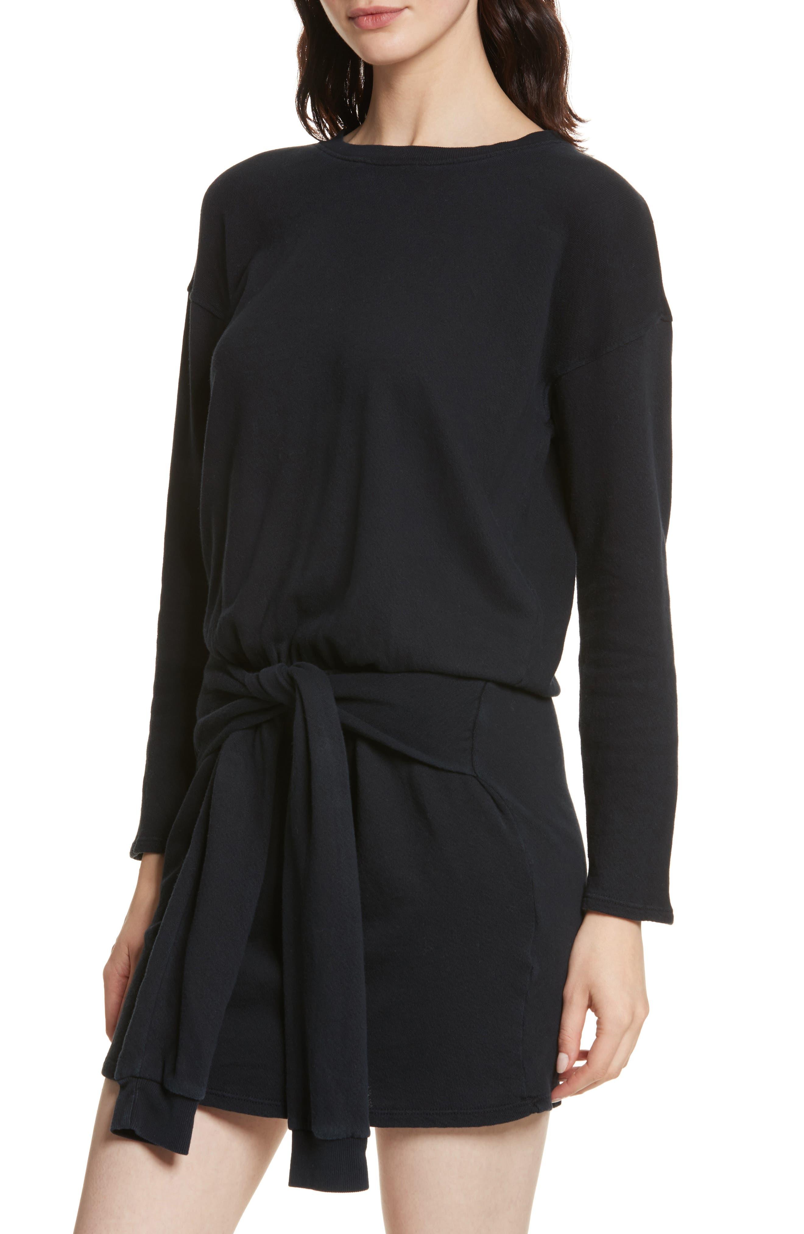 Lucya Tie Waist Cotton Minidress,                             Alternate thumbnail 4, color,                             Caviar