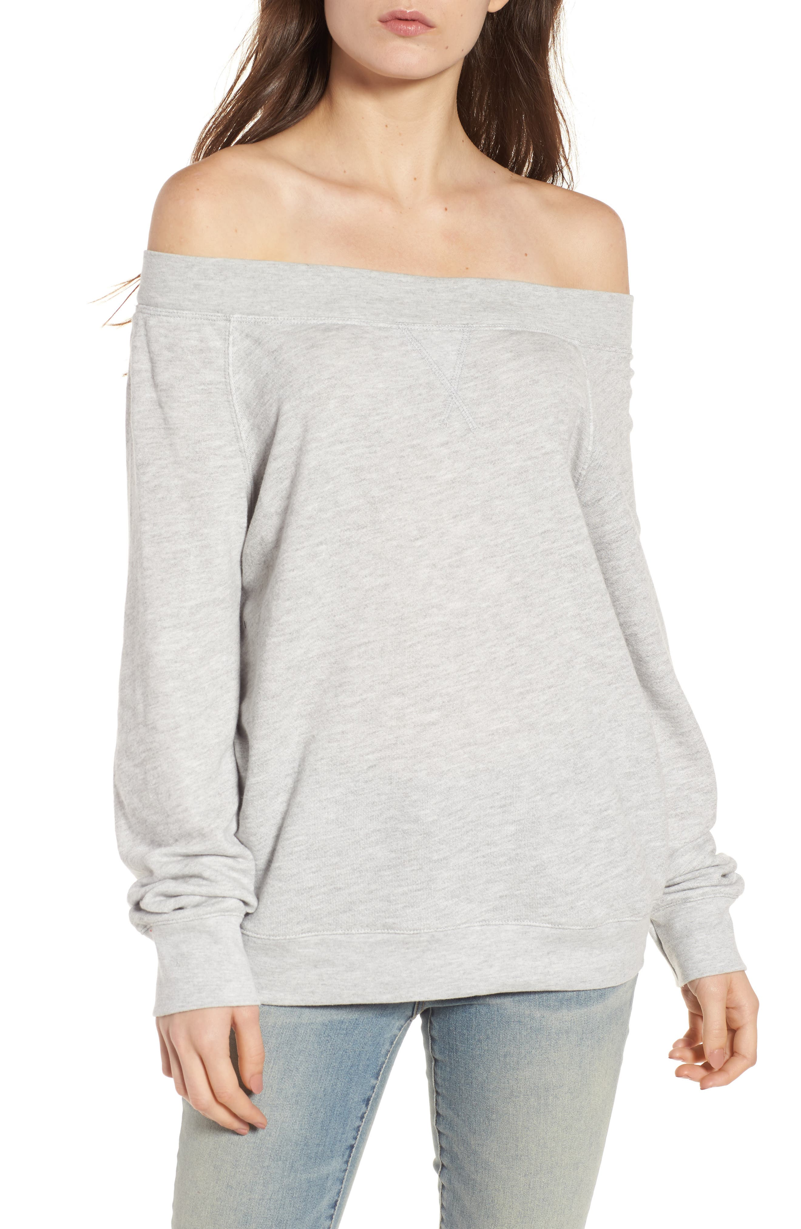 Off the Shoulder Sweatshirt,                             Main thumbnail 1, color,                             Grey Heather