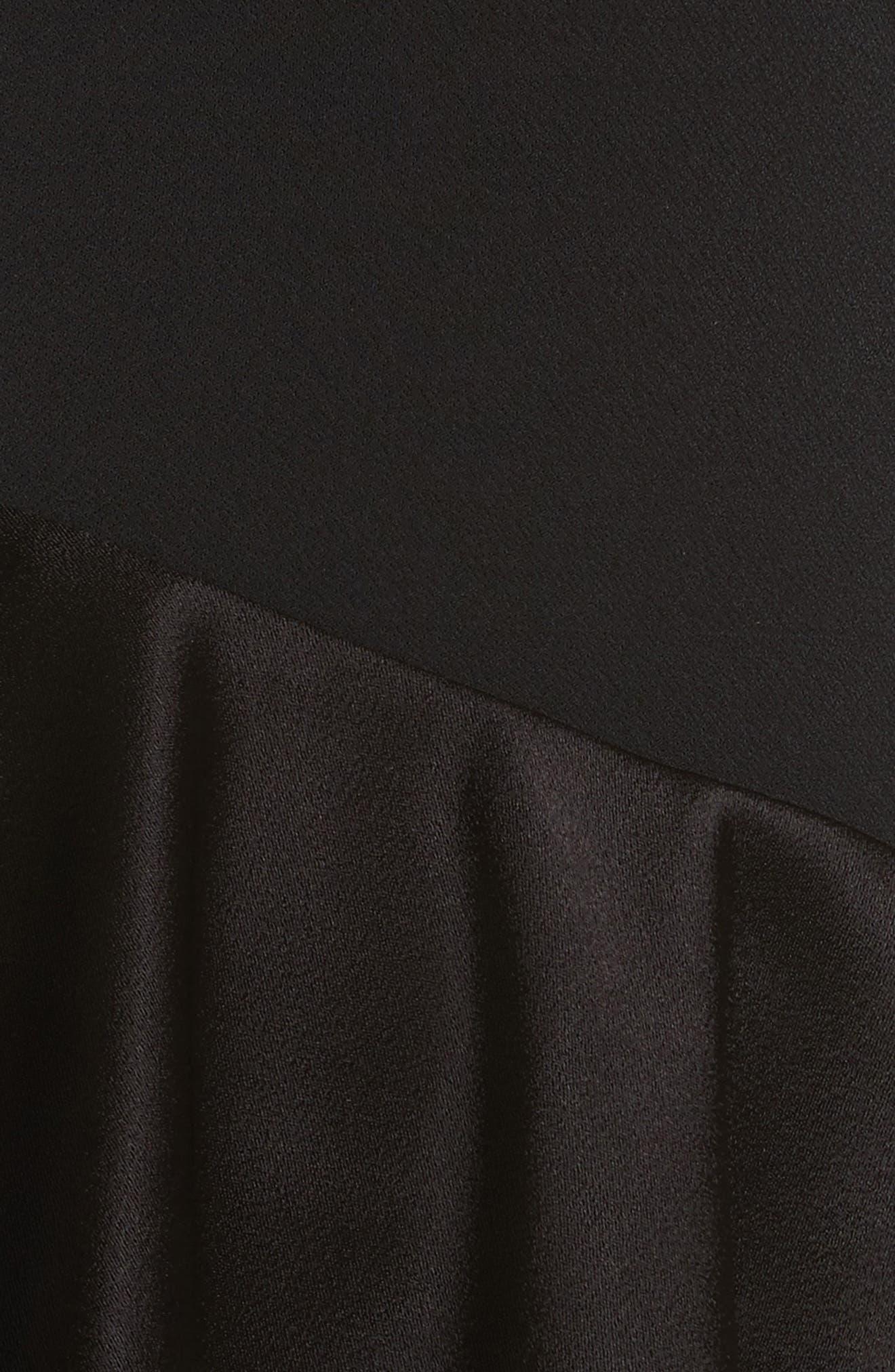 Izzy One-Shoulder Ruffle Dress,                             Alternate thumbnail 5, color,                             Black