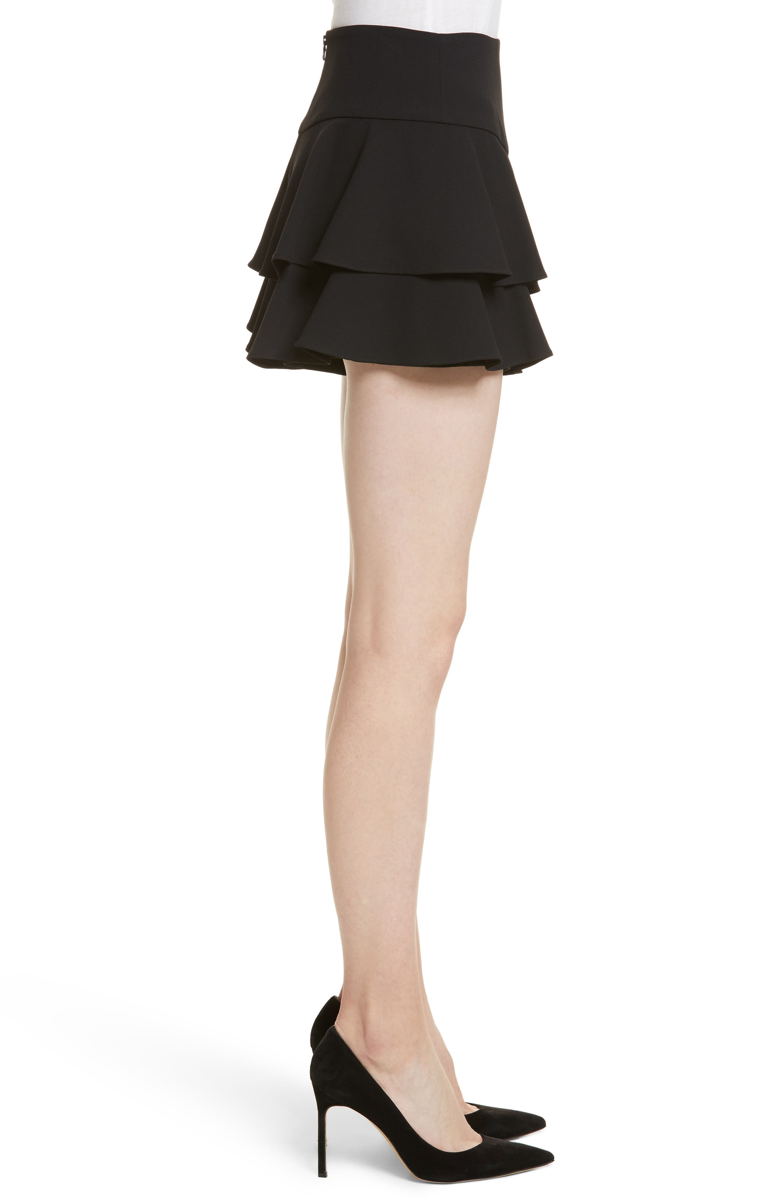 Paloma Ruffle Skort,                             Alternate thumbnail 3, color,                             Black