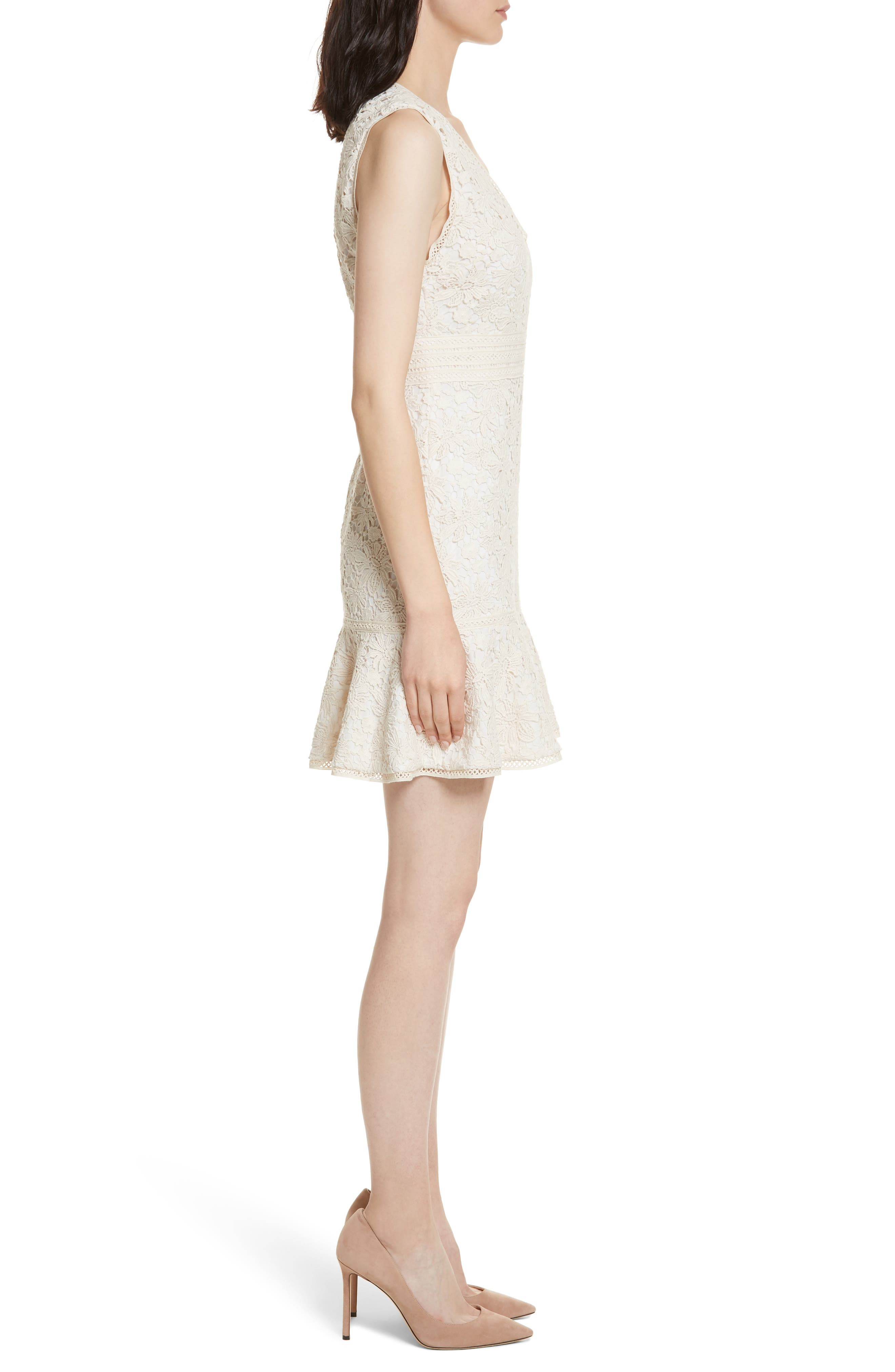 Onella V-Neck Lace Dress,                             Alternate thumbnail 3, color,                             Natural