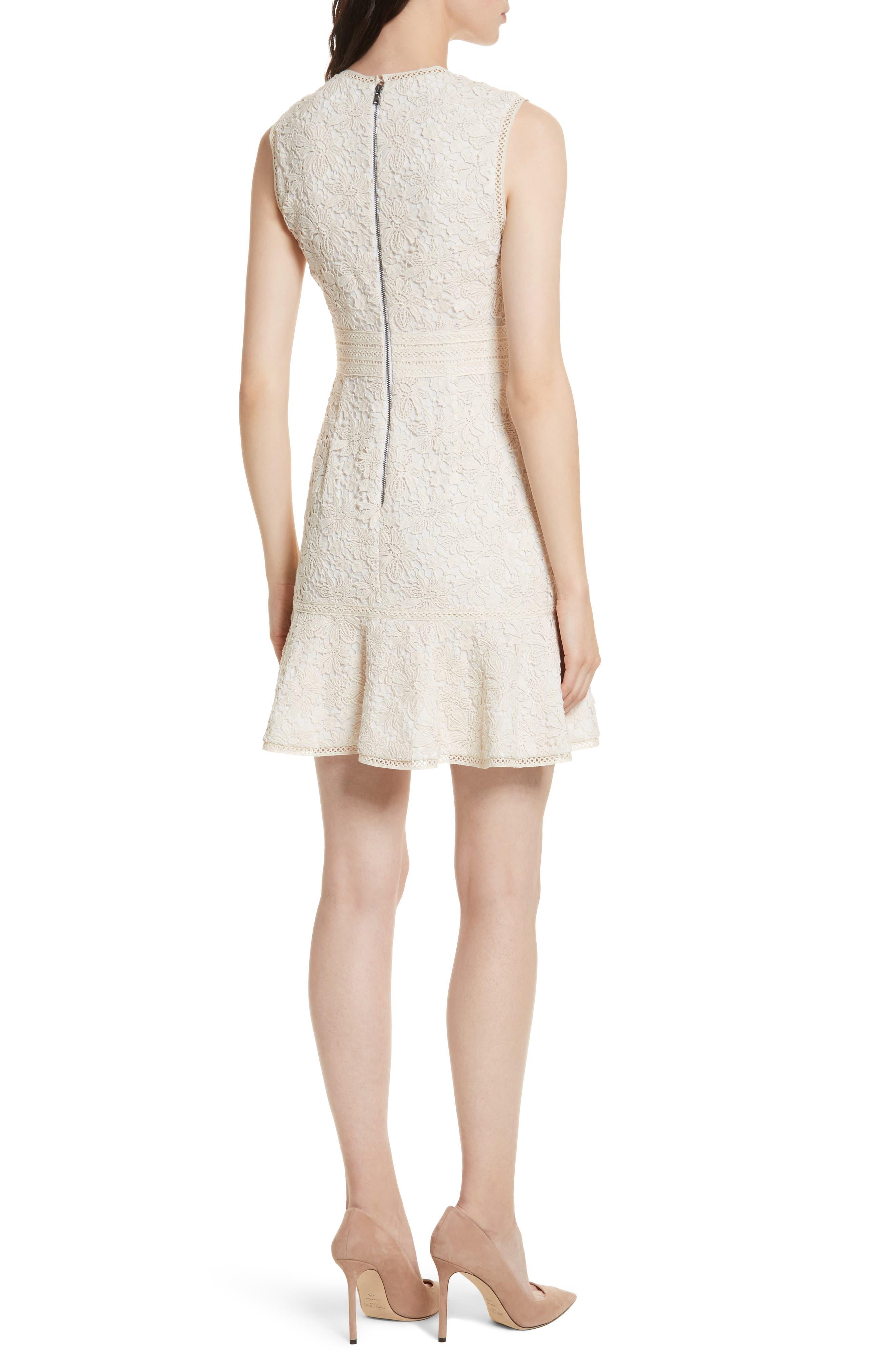 Onella V-Neck Lace Dress,                             Alternate thumbnail 2, color,                             Natural