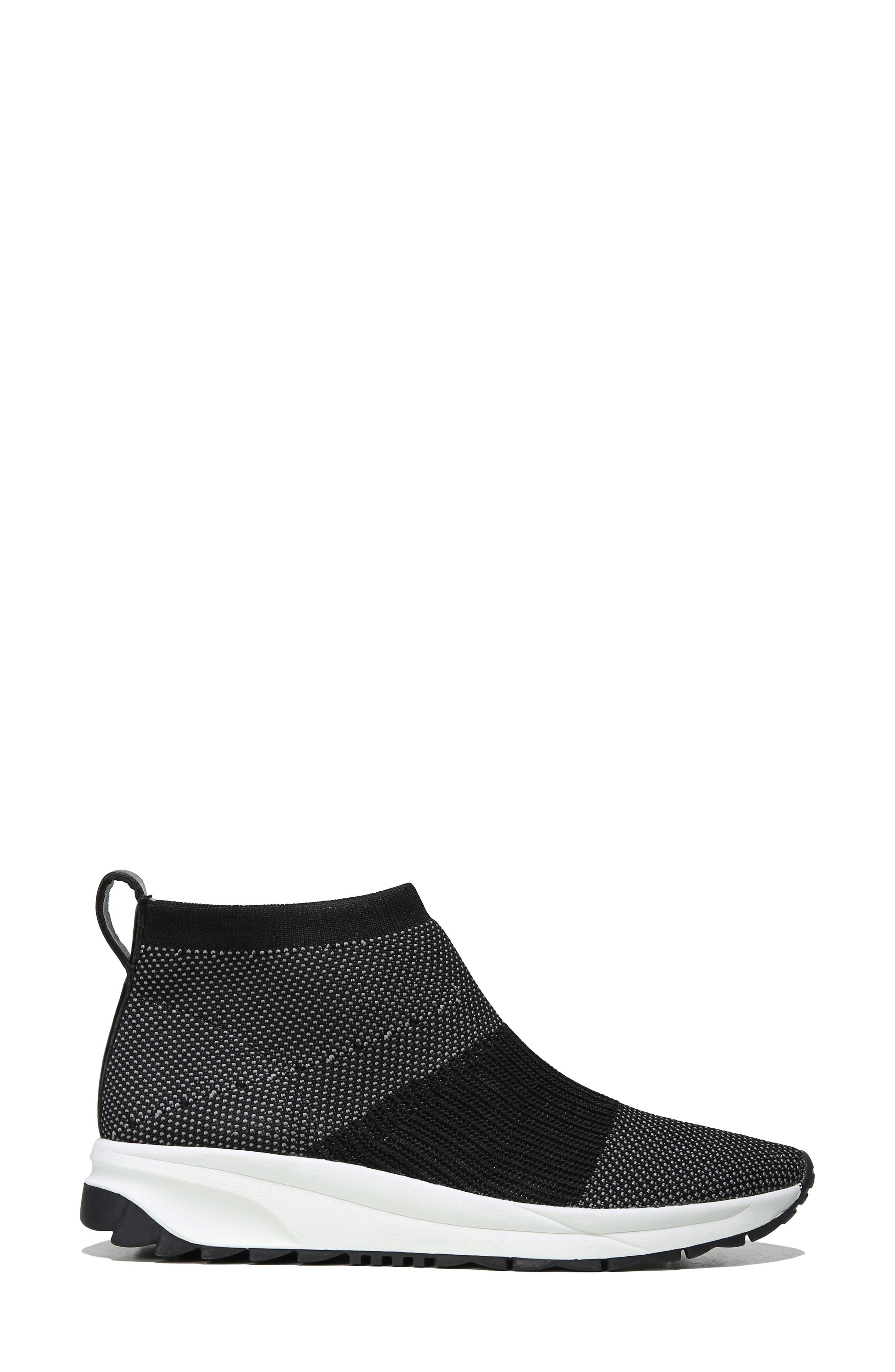 Selena Sneaker Boot,                             Alternate thumbnail 3, color,                             Black Stretch Fabric